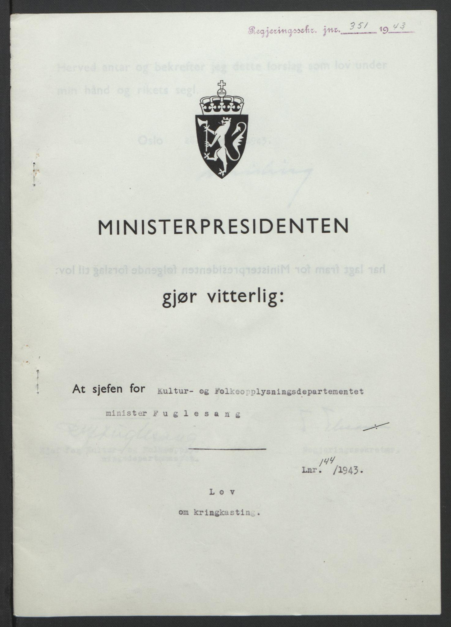 RA, NS-administrasjonen 1940-1945 (Statsrådsekretariatet, de kommisariske statsråder mm), D/Db/L0099: Lover, 1943, s. 669