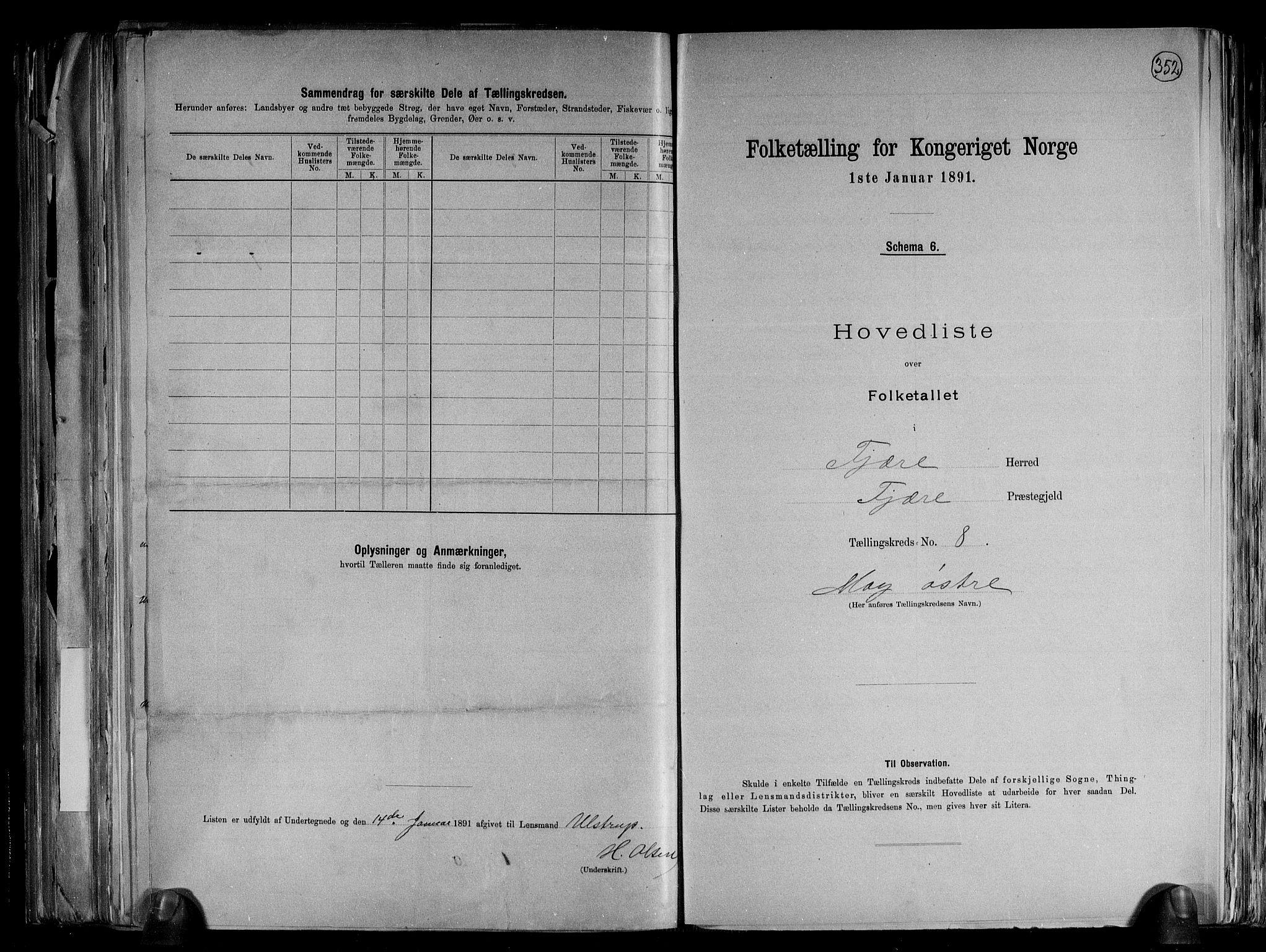 RA, Folketelling 1891 for 0923 Fjære herred, 1891, s. 20