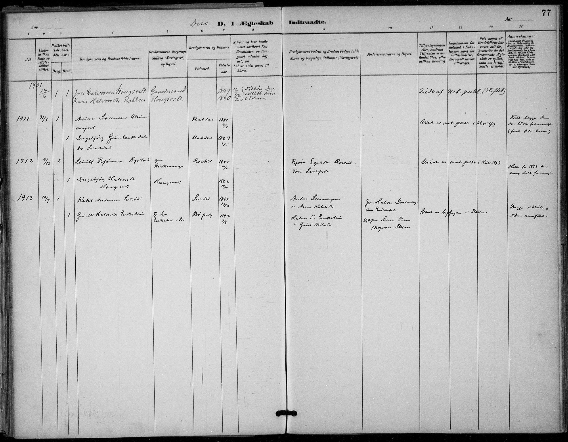 SAKO, Seljord kirkebøker, F/Fb/L0002: Ministerialbok nr. II 2, 1887-1917, s. 77