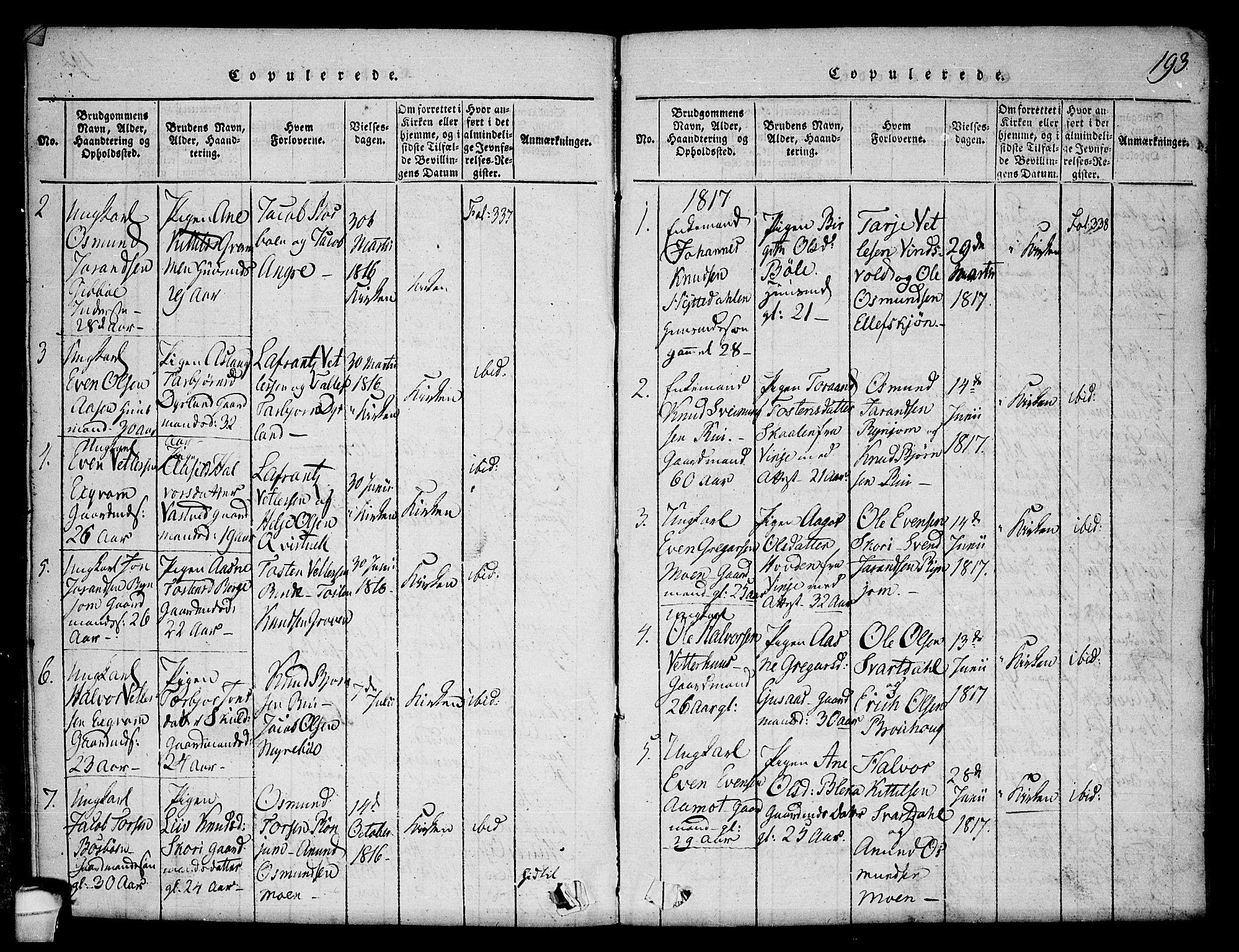 SAKO, Seljord kirkebøker, F/Fc/L0001: Ministerialbok nr. III 1, 1815-1831, s. 193