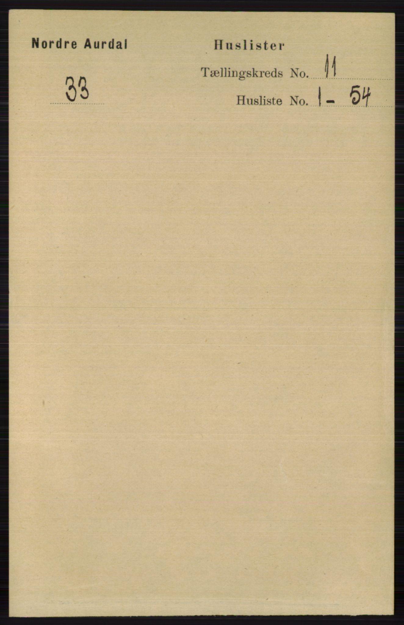 RA, Folketelling 1891 for 0542 Nord-Aurdal herred, 1891, s. 4058