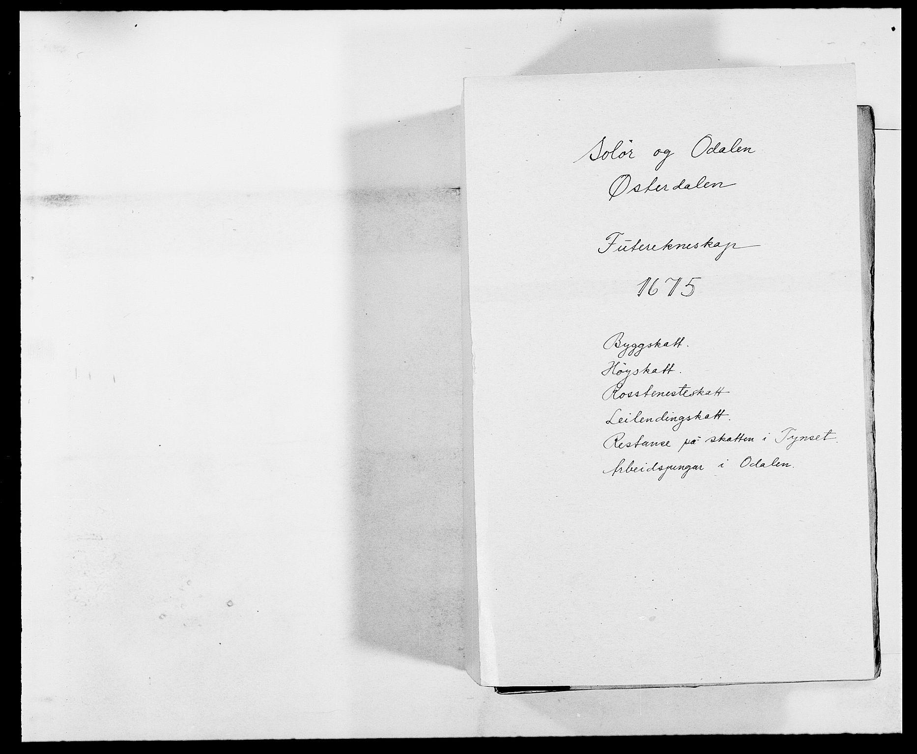 RA, Rentekammeret inntil 1814, Reviderte regnskaper, Fogderegnskap, R13/L0810: Fogderegnskap Solør, Odal og Østerdal, 1675, s. 1