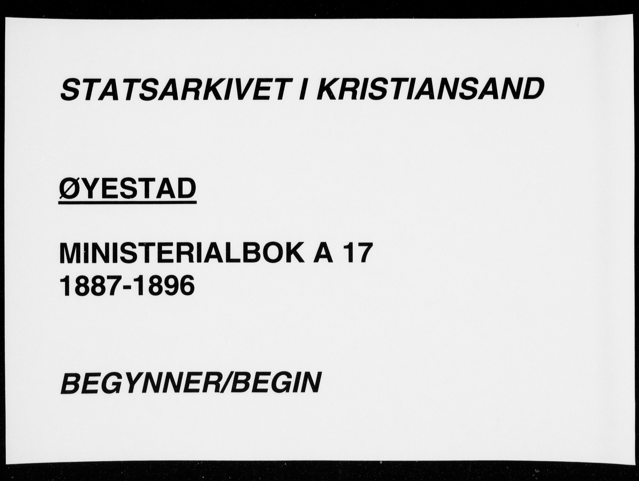 SAK, Øyestad sokneprestkontor, F/Fa/L0017: Ministerialbok nr. A 17, 1887-1896
