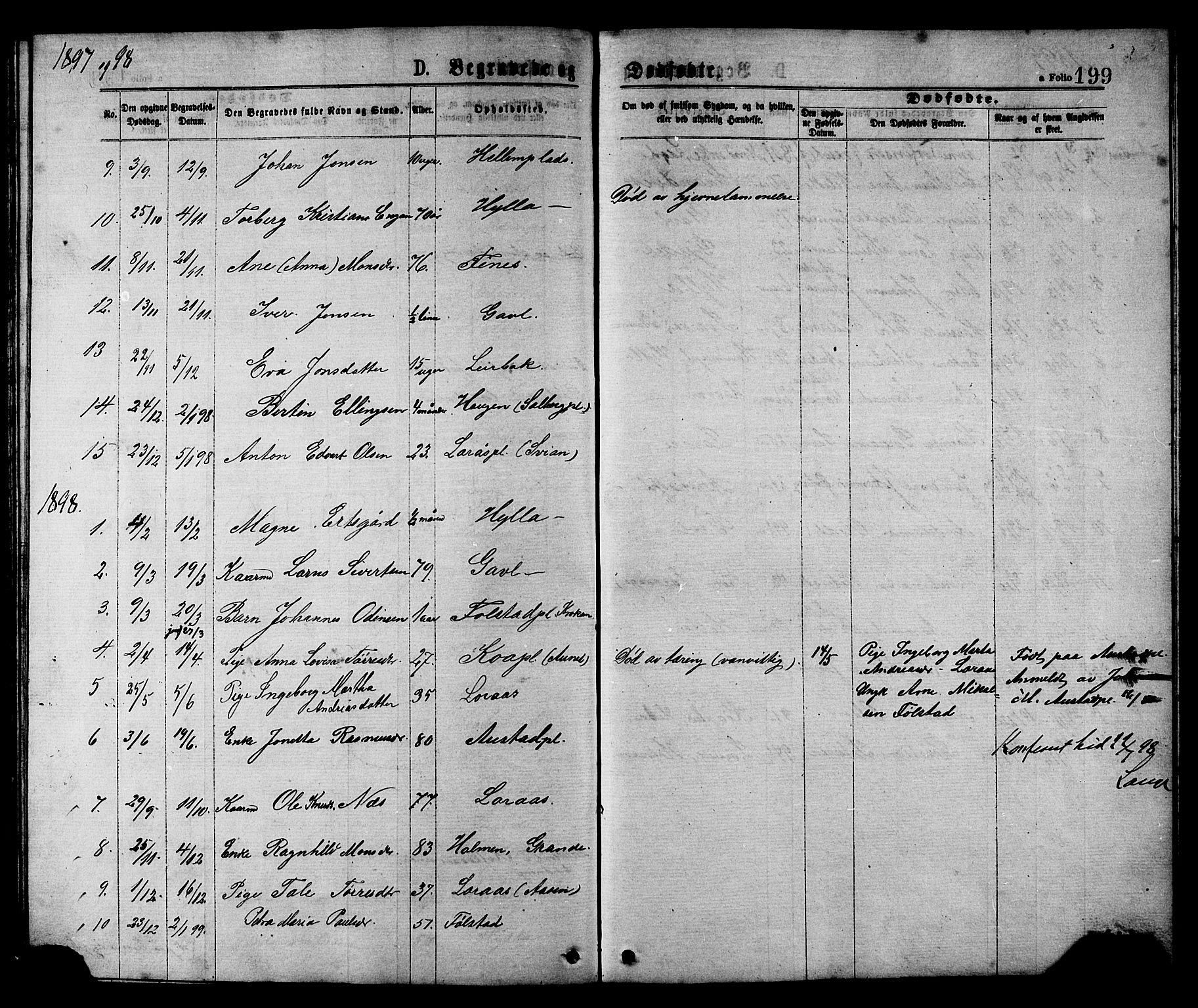 SAT, Ministerialprotokoller, klokkerbøker og fødselsregistre - Nord-Trøndelag, 731/L0311: Klokkerbok nr. 731C02, 1875-1911, s. 199