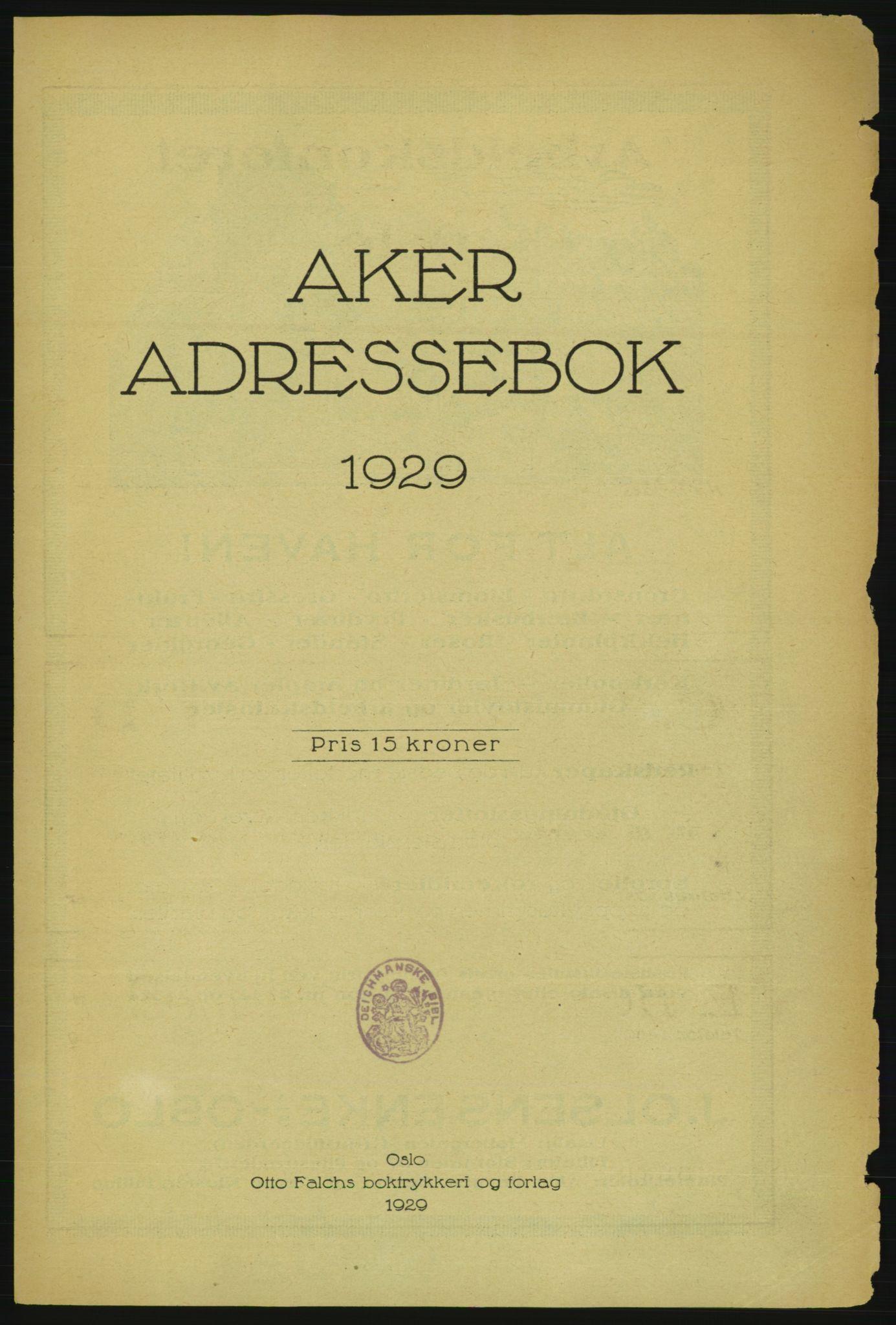 PUBL, Aker adressebok/adressekalender, 1929