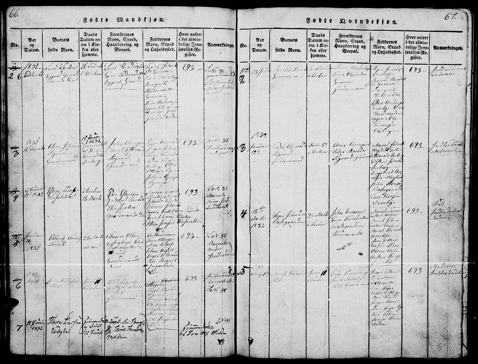 SAH, Tynset prestekontor, Klokkerbok nr. 4, 1814-1879, s. 66-67