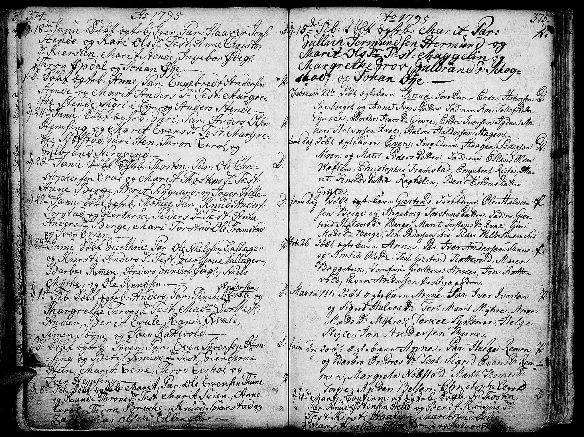 SAH, Vang prestekontor, Valdres, Ministerialbok nr. 1, 1730-1796, s. 374-375