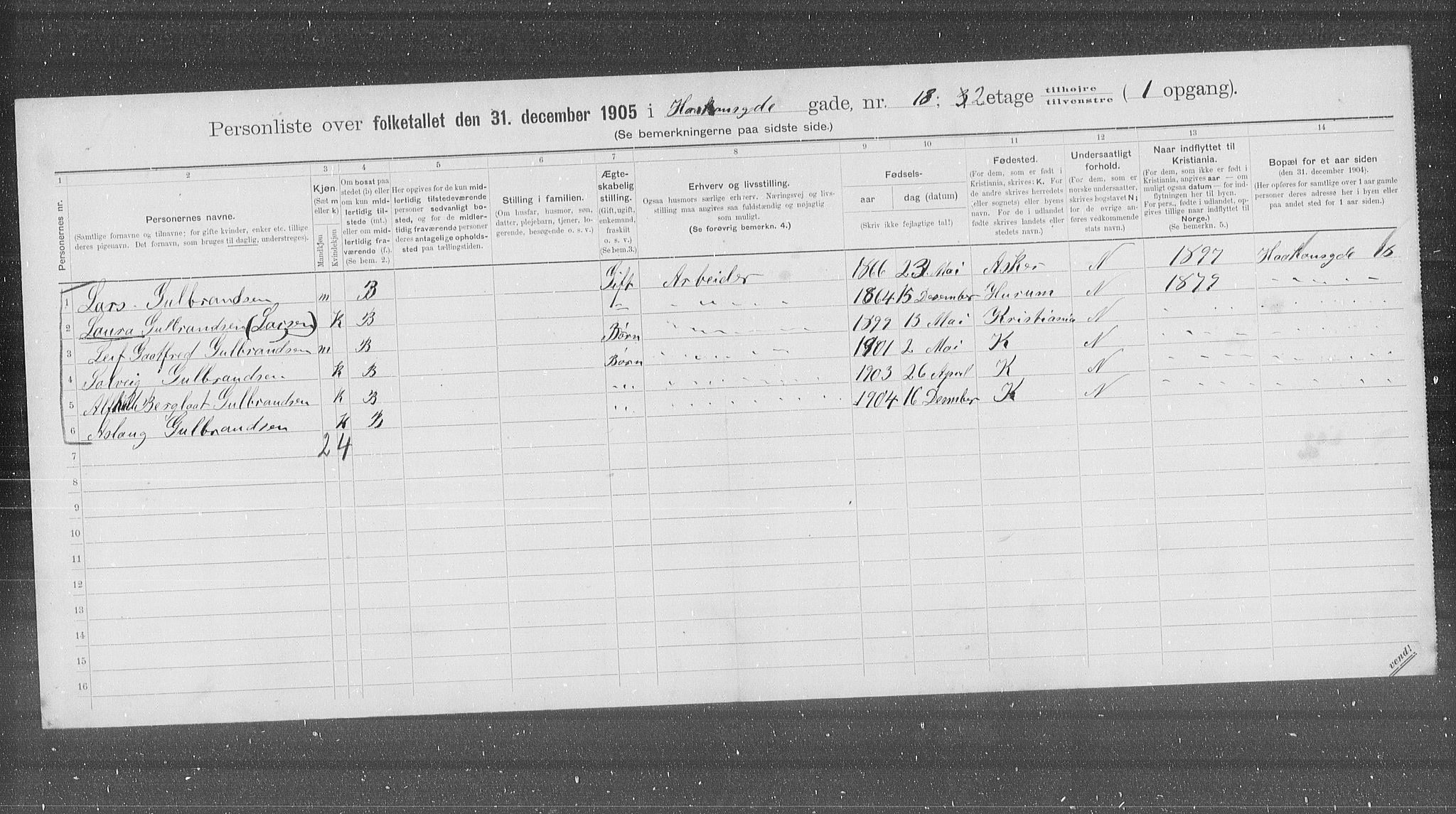 OBA, Kommunal folketelling 1905 for Kristiania kjøpstad, 1905, s. 22678
