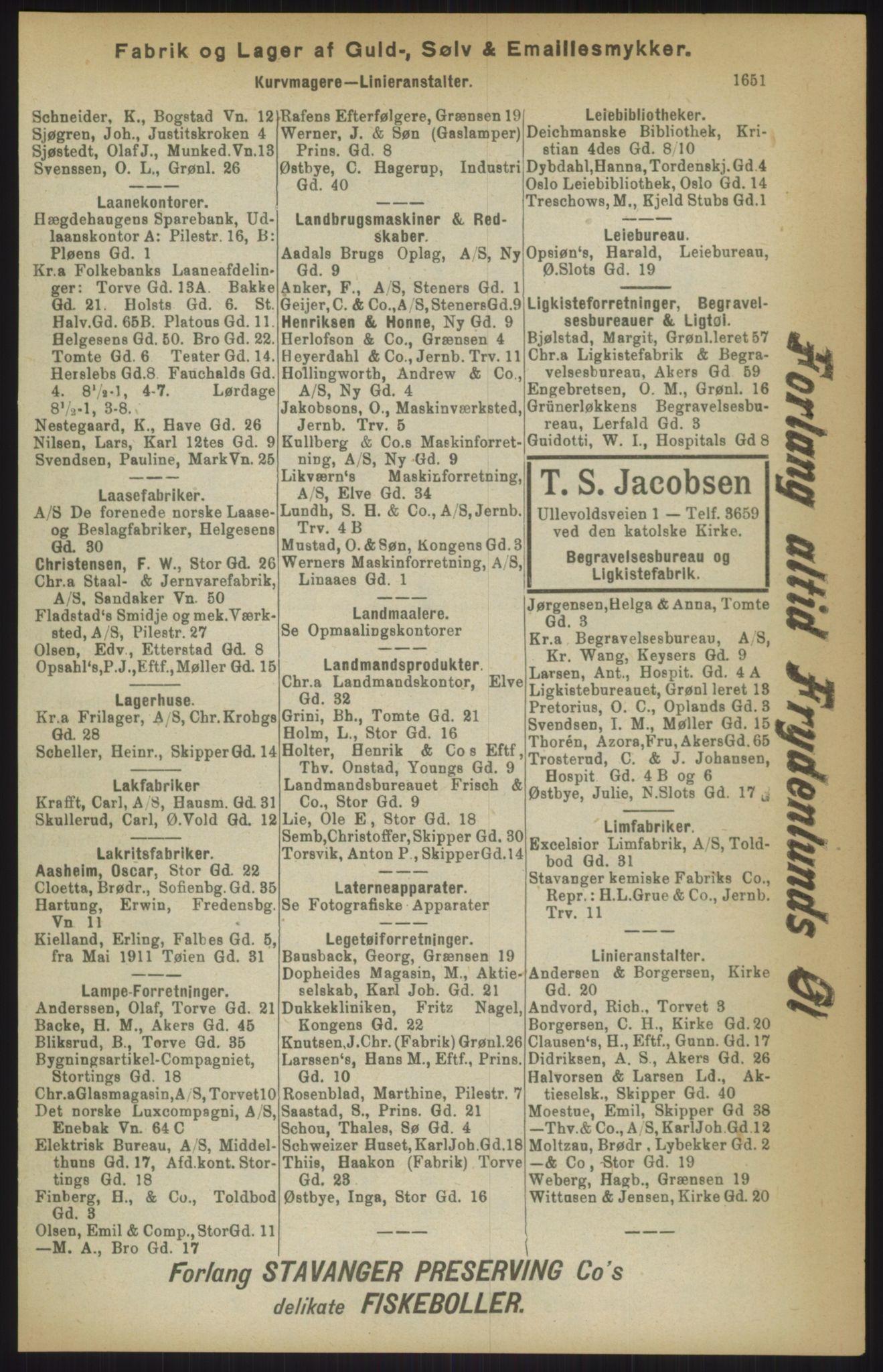 RA, Kristiania adressebok (publikasjon)*, 1911, s. 1651