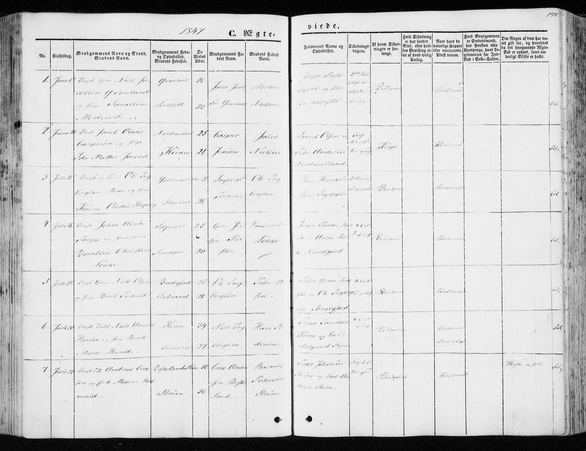 SAT, Ministerialprotokoller, klokkerbøker og fødselsregistre - Sør-Trøndelag, 657/L0704: Ministerialbok nr. 657A05, 1846-1857, s. 178