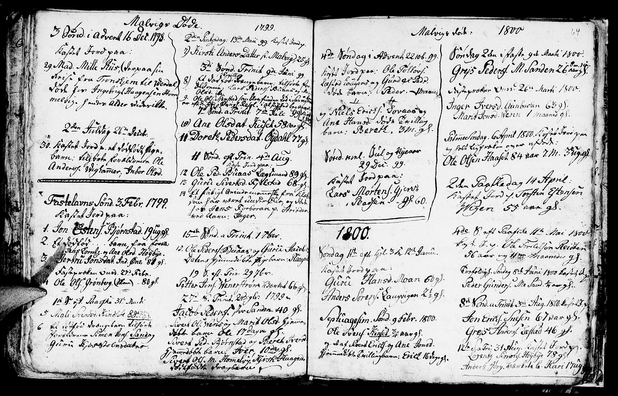 SAT, Ministerialprotokoller, klokkerbøker og fødselsregistre - Sør-Trøndelag, 616/L0419: Klokkerbok nr. 616C02, 1797-1816, s. 64