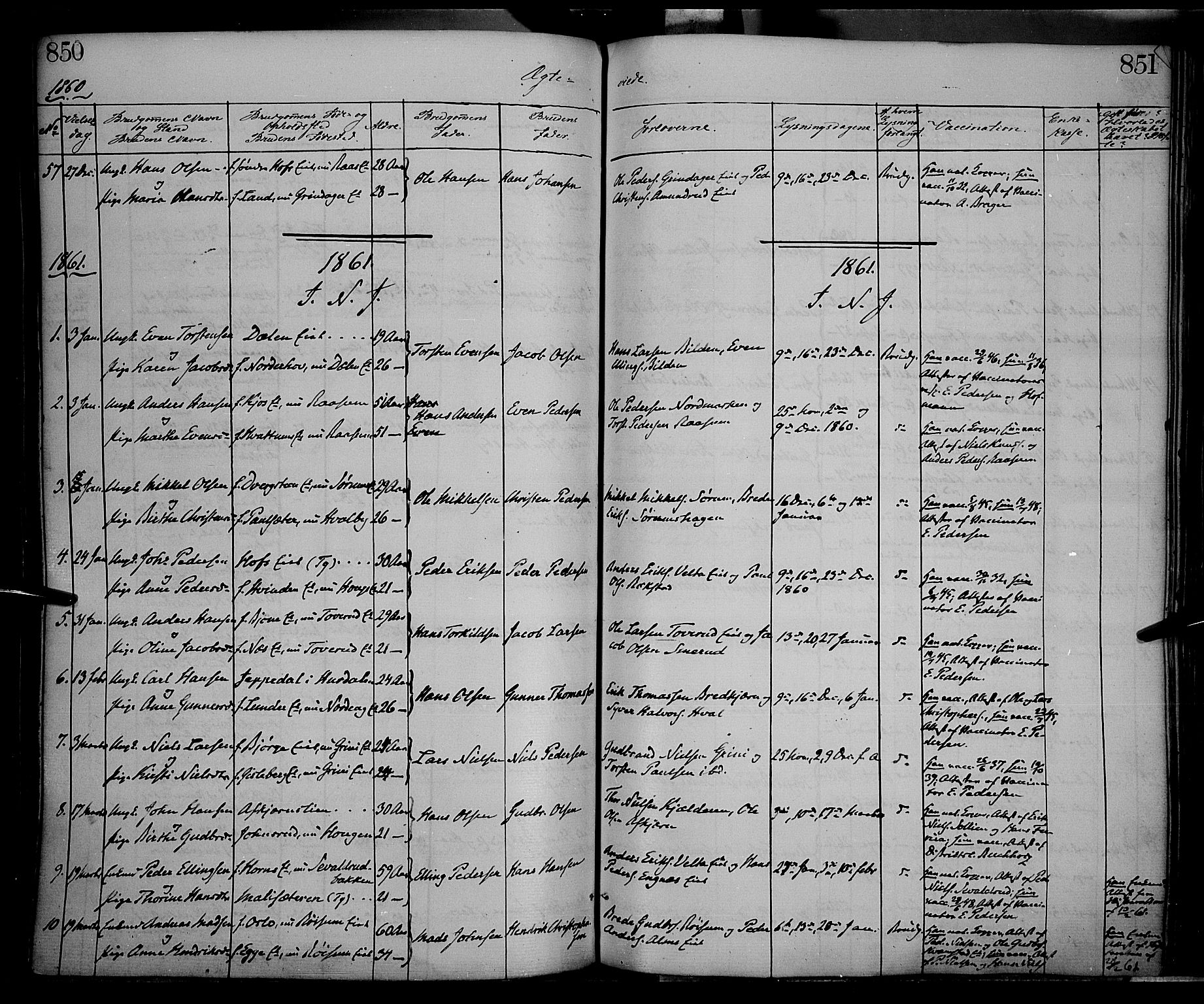 SAH, Gran prestekontor, Ministerialbok nr. 12, 1856-1874, s. 850-851
