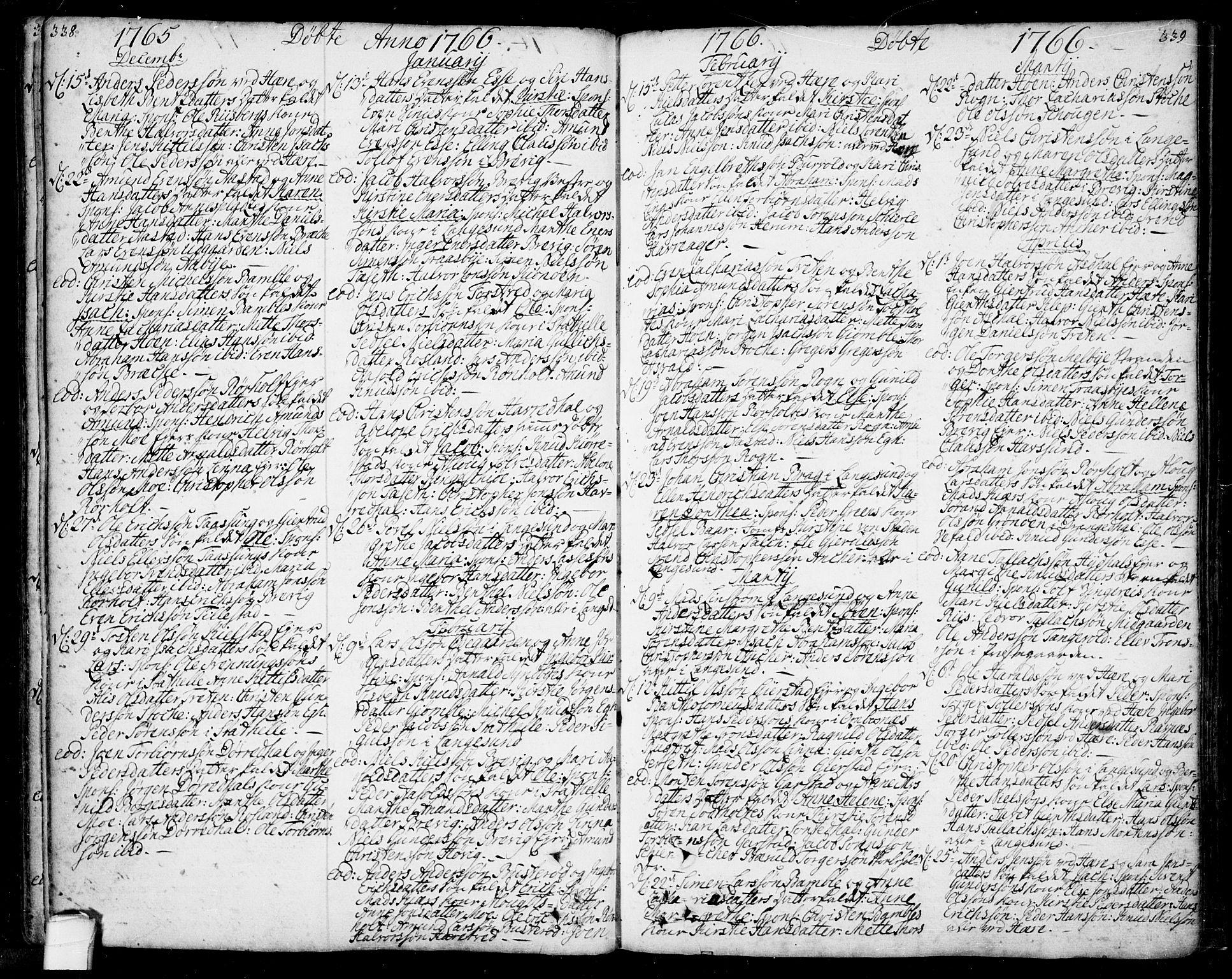 SAKO, Bamble kirkebøker, F/Fa/L0001: Ministerialbok nr. I 1, 1702-1774, s. 338-339