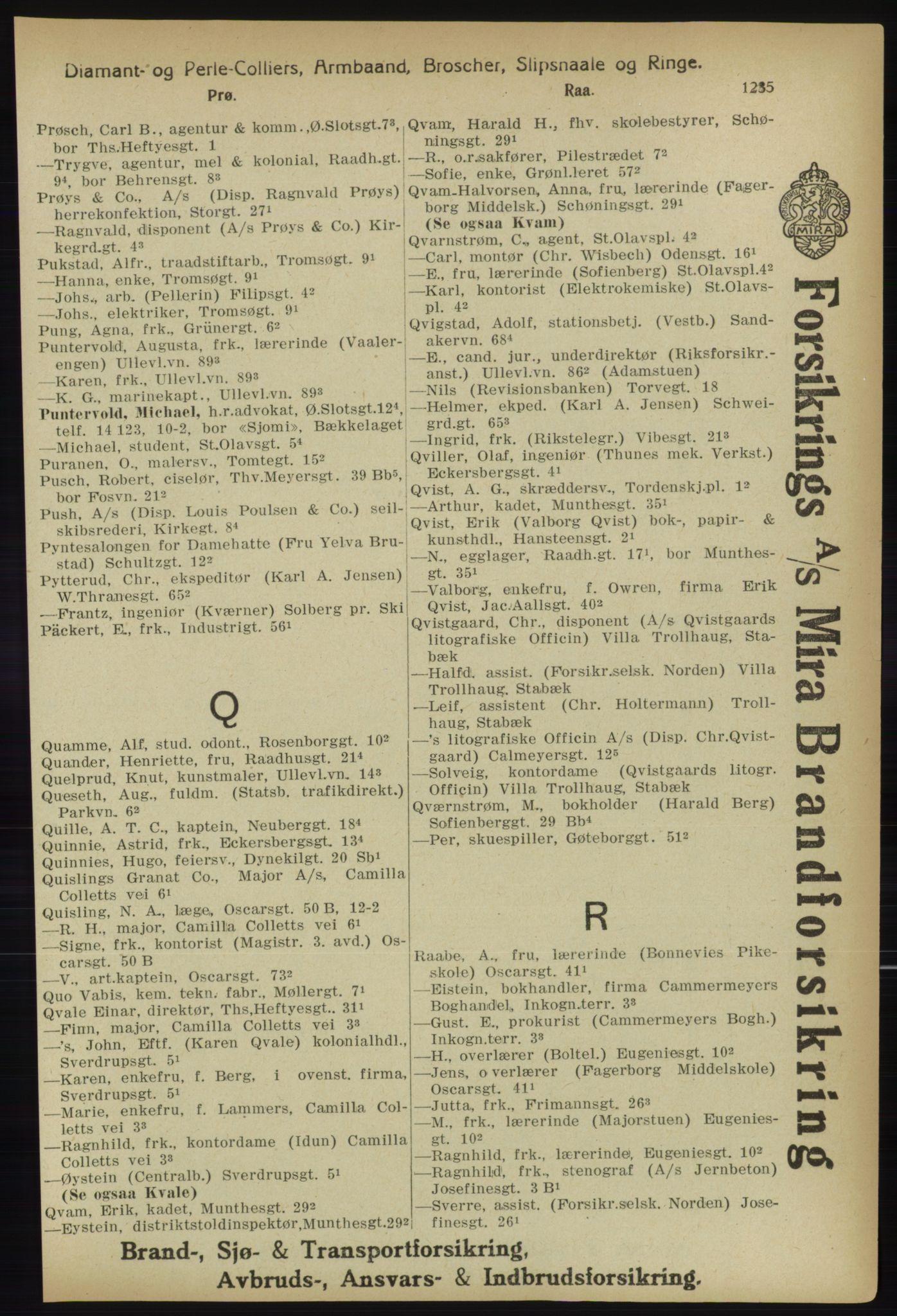 PUBL, Kristiania/Oslo adressebok, 1918, s. 1260