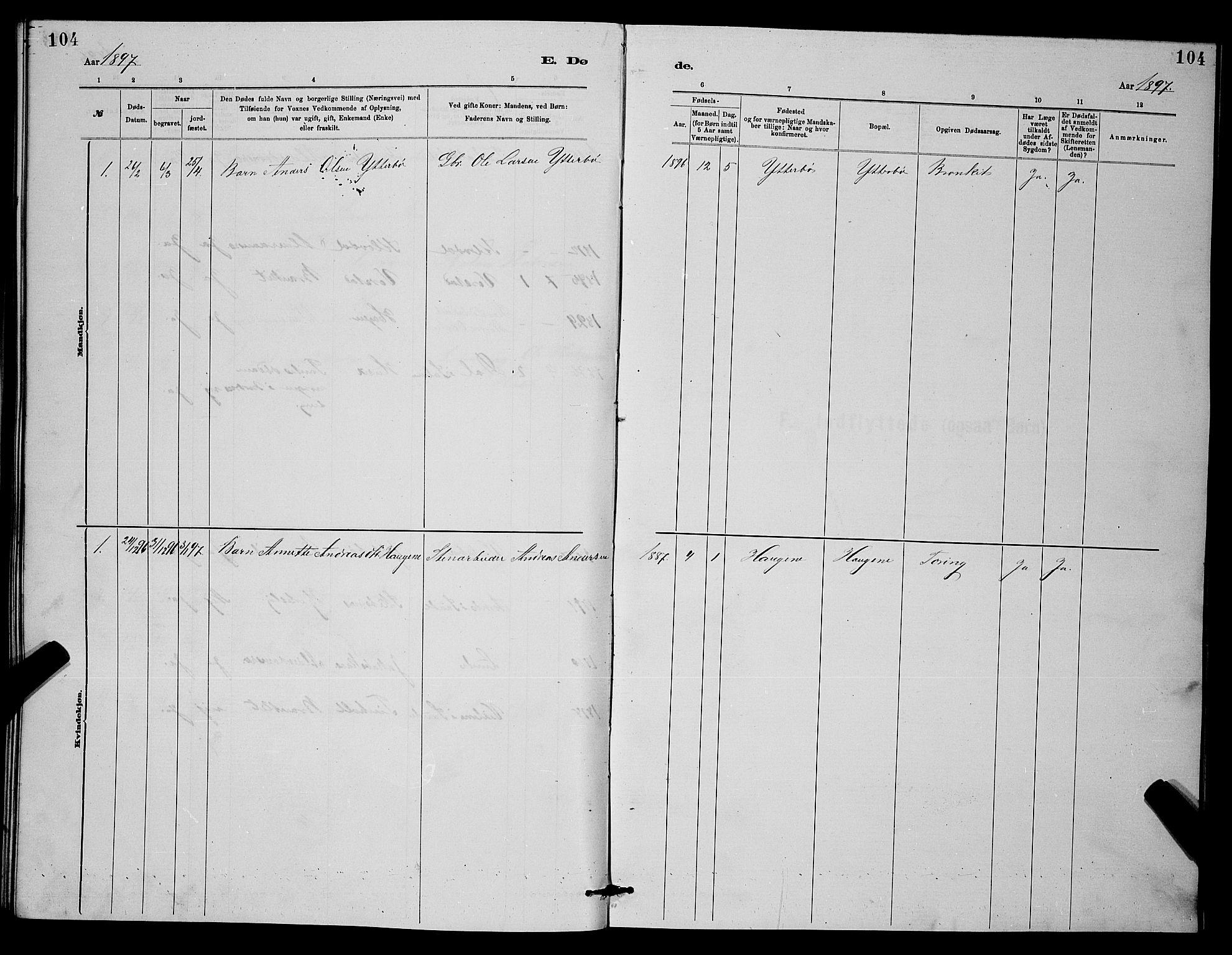 SAKO, Holla kirkebøker, G/Gb/L0001: Klokkerbok nr. II 1, 1882-1897, s. 104