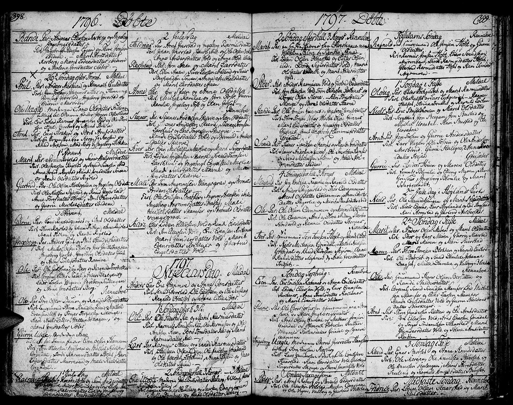 SAT, Ministerialprotokoller, klokkerbøker og fødselsregistre - Sør-Trøndelag, 672/L0852: Ministerialbok nr. 672A05, 1776-1815, s. 398-399