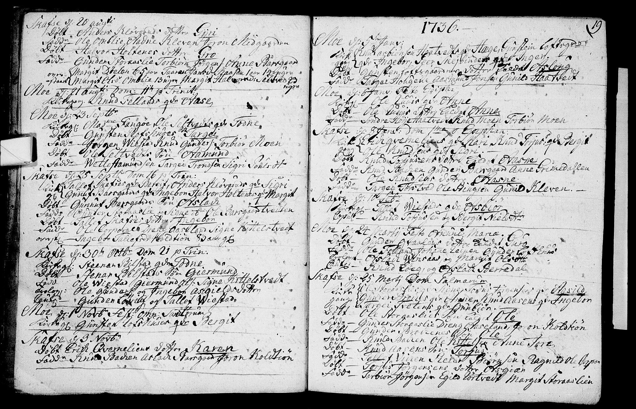 SAKO, Mo kirkebøker, F/Fa/L0001: Ministerialbok nr. I 1, 1724-1748, s. 19
