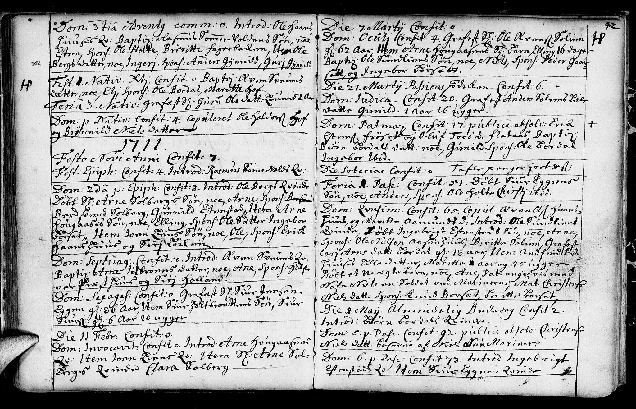 SAT, Ministerialprotokoller, klokkerbøker og fødselsregistre - Sør-Trøndelag, 689/L1036: Ministerialbok nr. 689A01, 1696-1746, s. 42