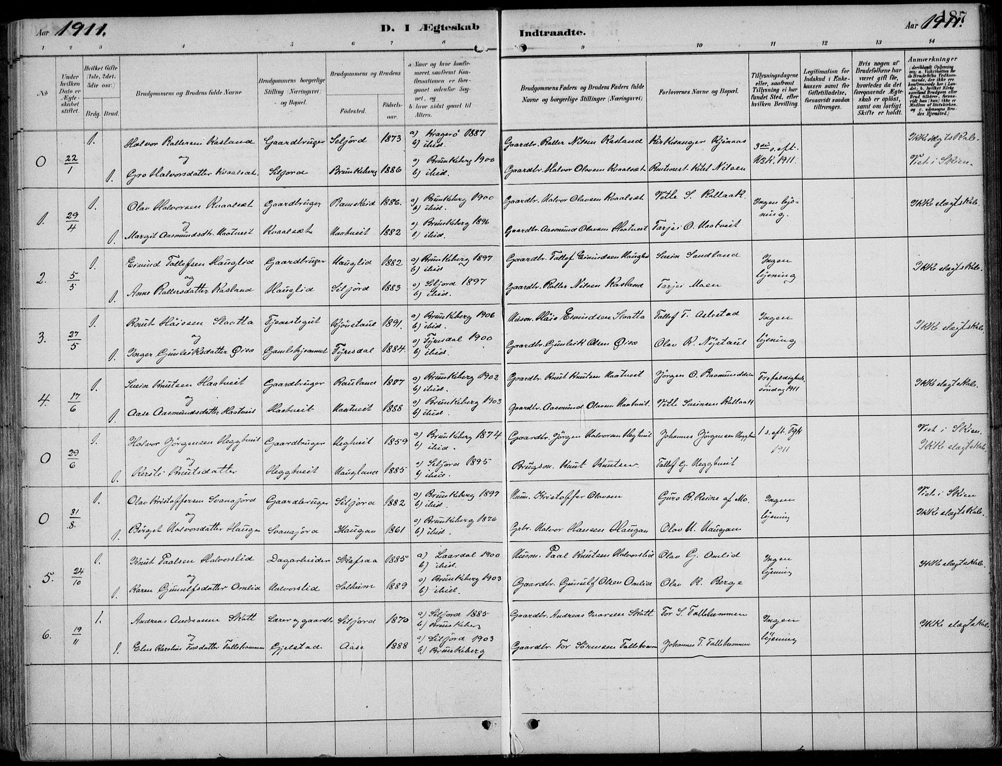SAKO, Kviteseid kirkebøker, F/Fb/L0002: Ministerialbok nr. II 2, 1882-1916, s. 187