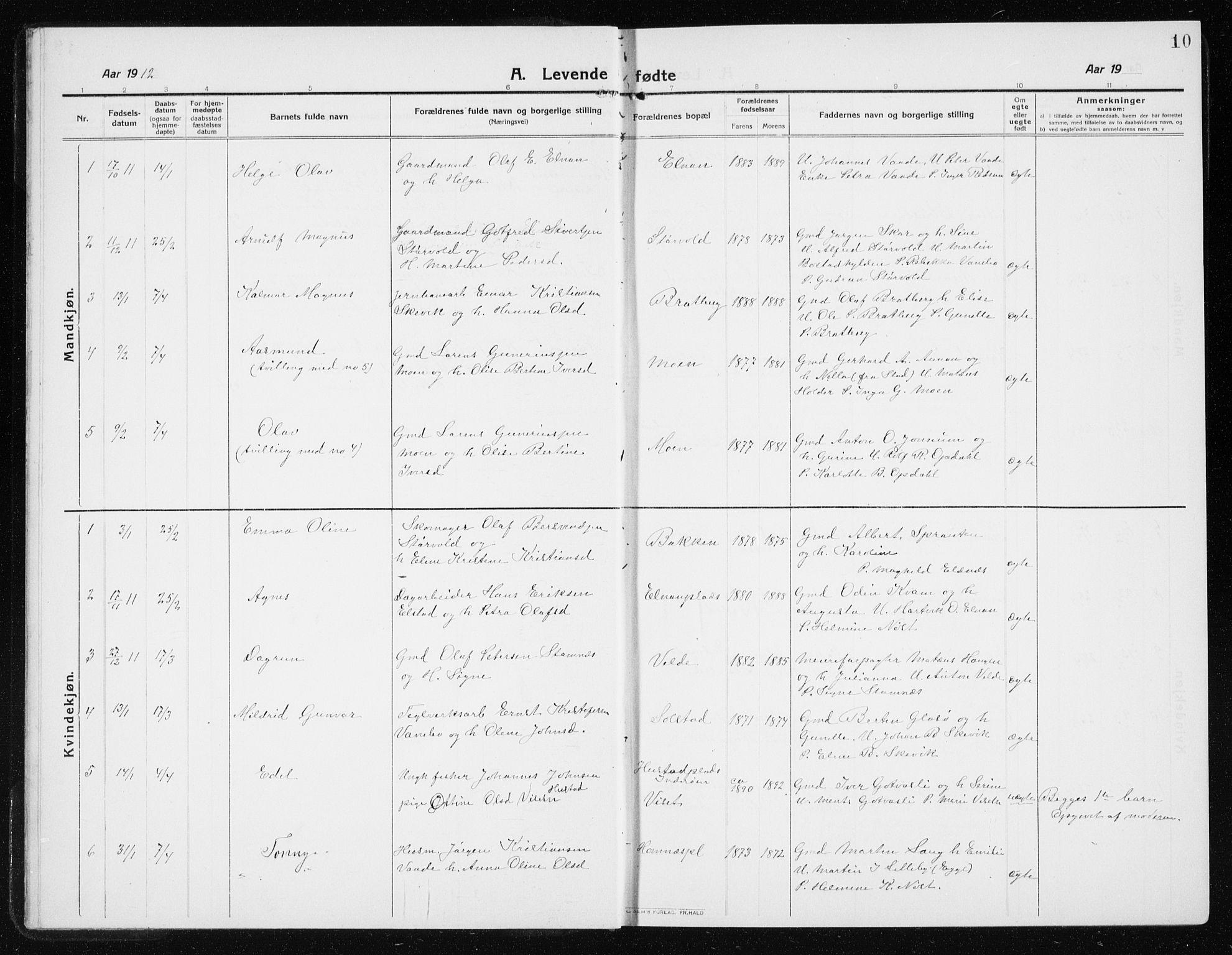 SAT, Ministerialprotokoller, klokkerbøker og fødselsregistre - Nord-Trøndelag, 741/L0402: Klokkerbok nr. 741C03, 1911-1926, s. 10
