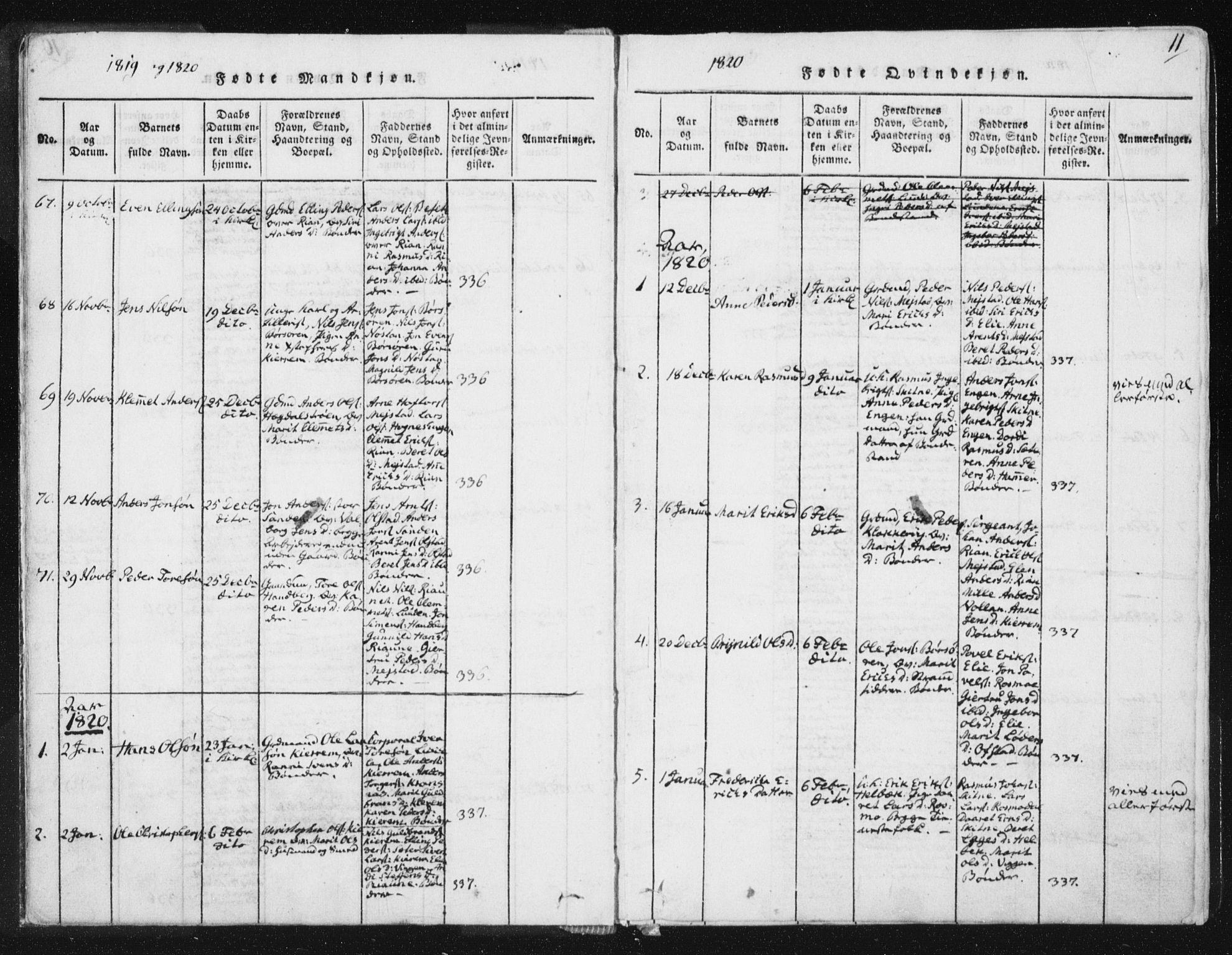 SAT, Ministerialprotokoller, klokkerbøker og fødselsregistre - Sør-Trøndelag, 665/L0770: Ministerialbok nr. 665A05, 1817-1829, s. 11