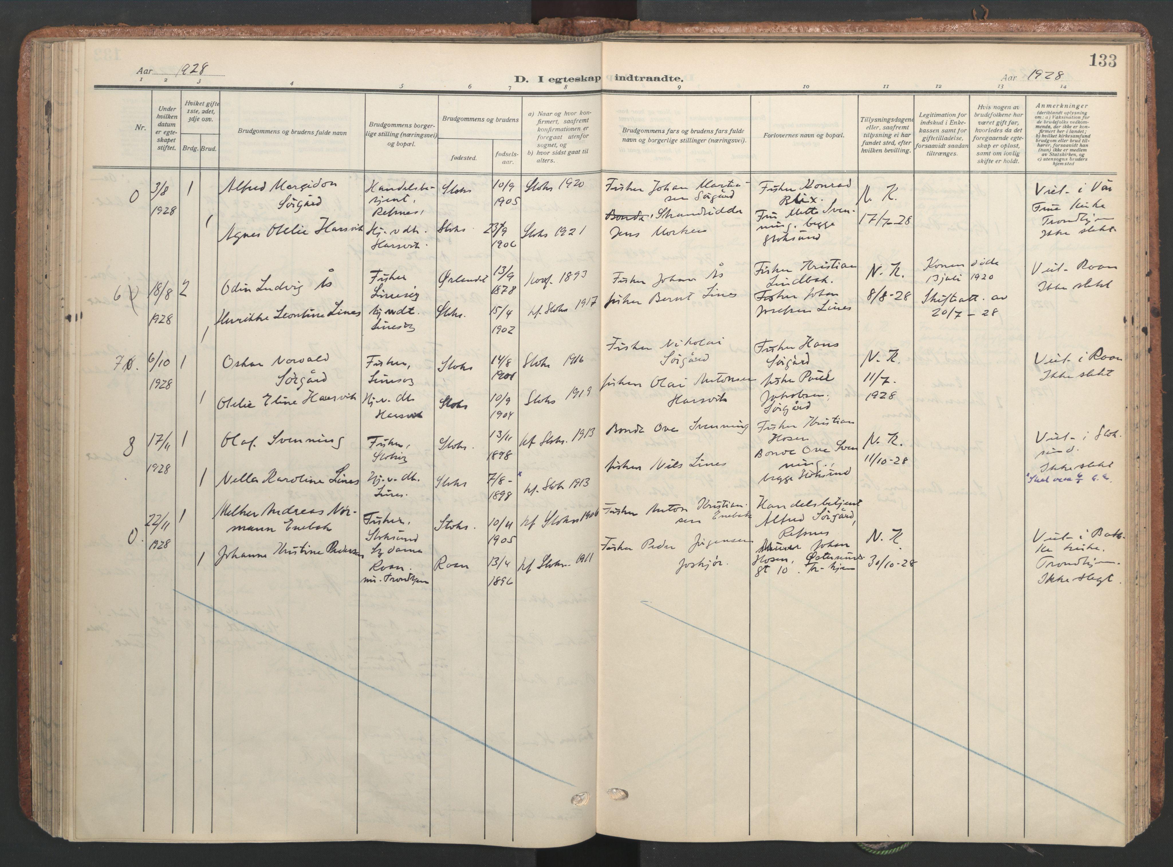 SAT, Ministerialprotokoller, klokkerbøker og fødselsregistre - Sør-Trøndelag, 656/L0694: Ministerialbok nr. 656A03, 1914-1931, s. 133