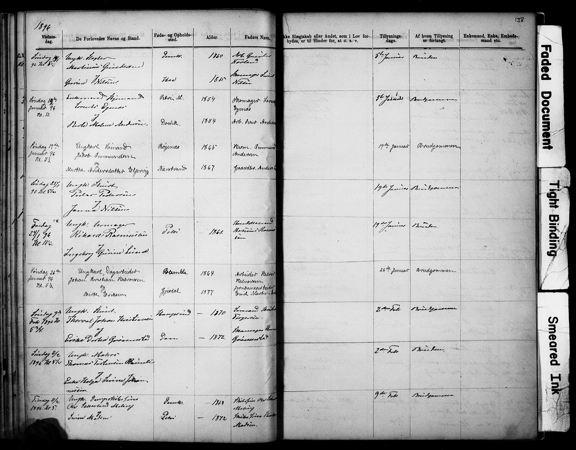 SAST, Domkirken sokneprestkontor, 30/30BB/L0014: Klokkerbok nr. B 14, 1875-1902, s. 138