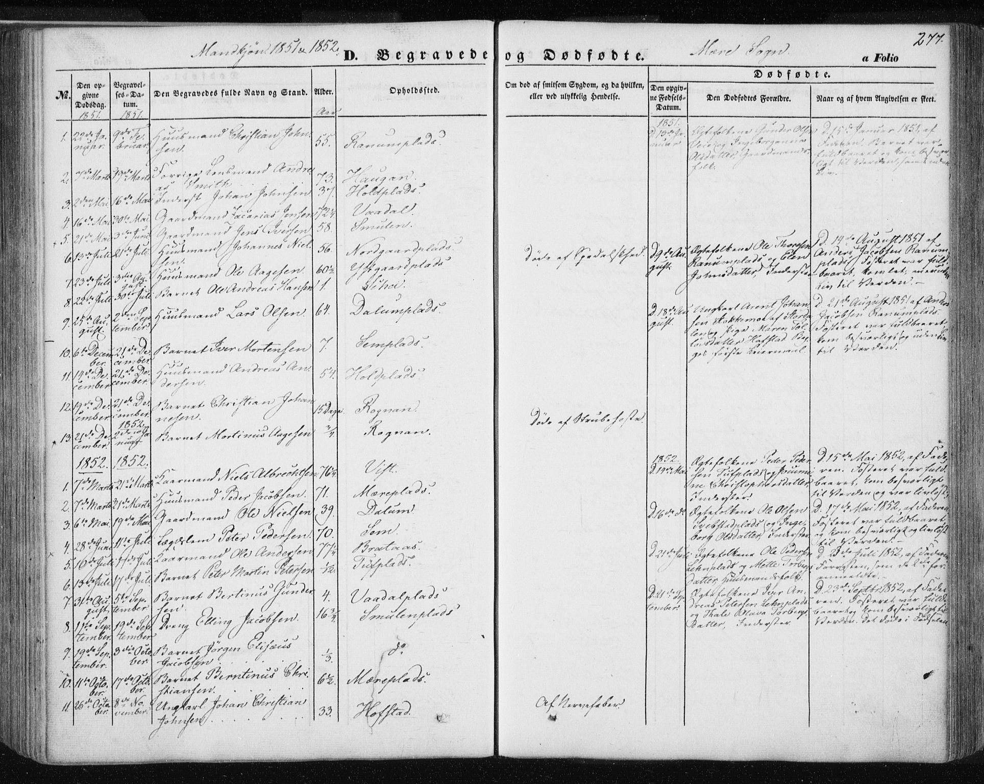 SAT, Ministerialprotokoller, klokkerbøker og fødselsregistre - Nord-Trøndelag, 735/L0342: Ministerialbok nr. 735A07 /1, 1849-1862, s. 277