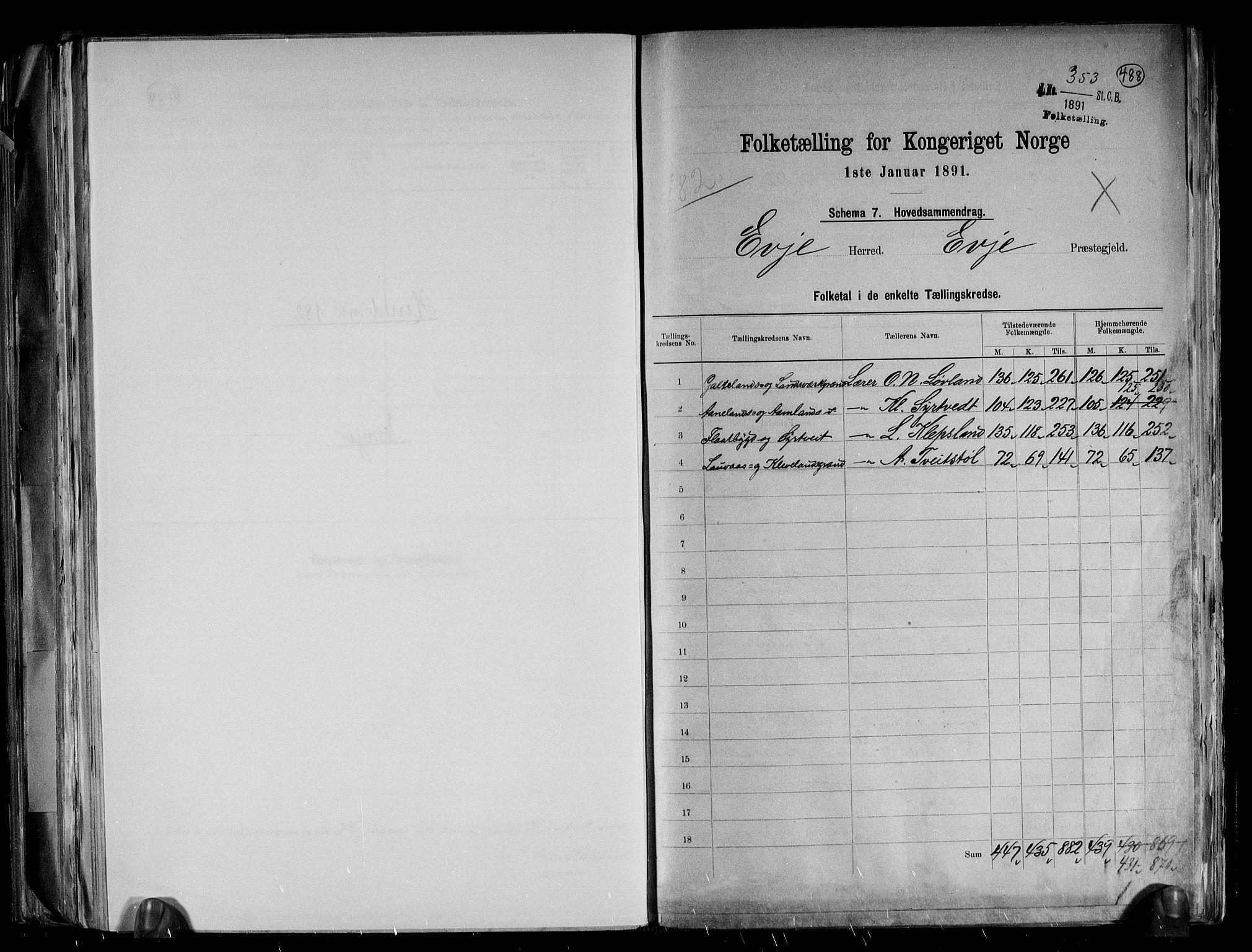 RA, Folketelling 1891 for 0937 Evje herred, 1891, s. 2
