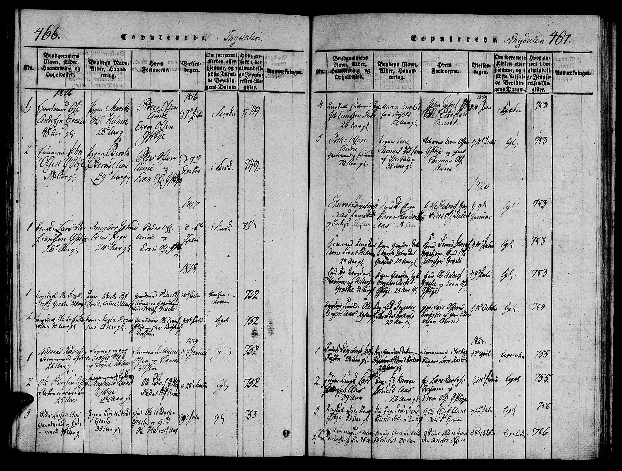 SAT, Ministerialprotokoller, klokkerbøker og fødselsregistre - Sør-Trøndelag, 695/L1142: Ministerialbok nr. 695A04 /2, 1816-1824, s. 466-467