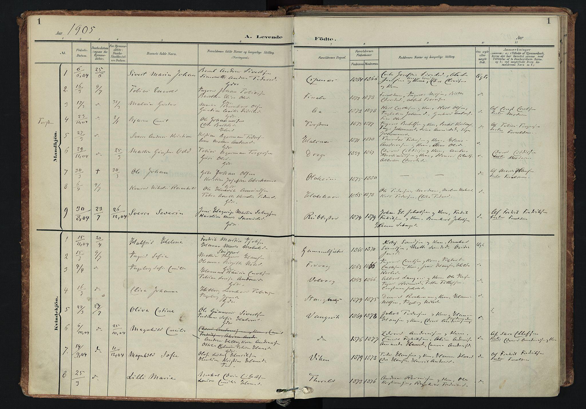 SATØ, Tranøy sokneprestkontor, I/Ia/Iaa/L0014kirke: Ministerialbok nr. 14, 1905-1919, s. 1