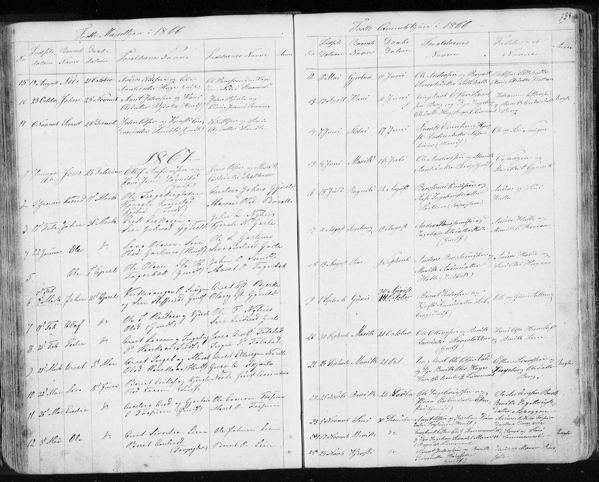 SAT, Ministerialprotokoller, klokkerbøker og fødselsregistre - Sør-Trøndelag, 689/L1043: Klokkerbok nr. 689C02, 1816-1892, s. 133