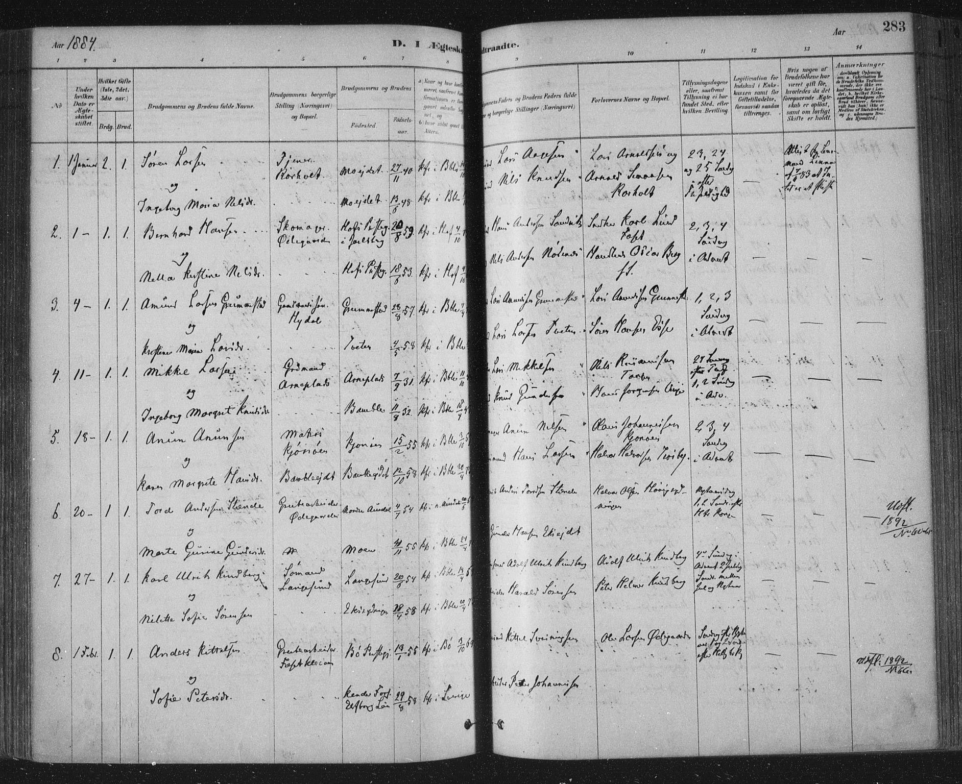 SAKO, Bamble kirkebøker, F/Fa/L0007: Ministerialbok nr. I 7, 1878-1888, s. 283