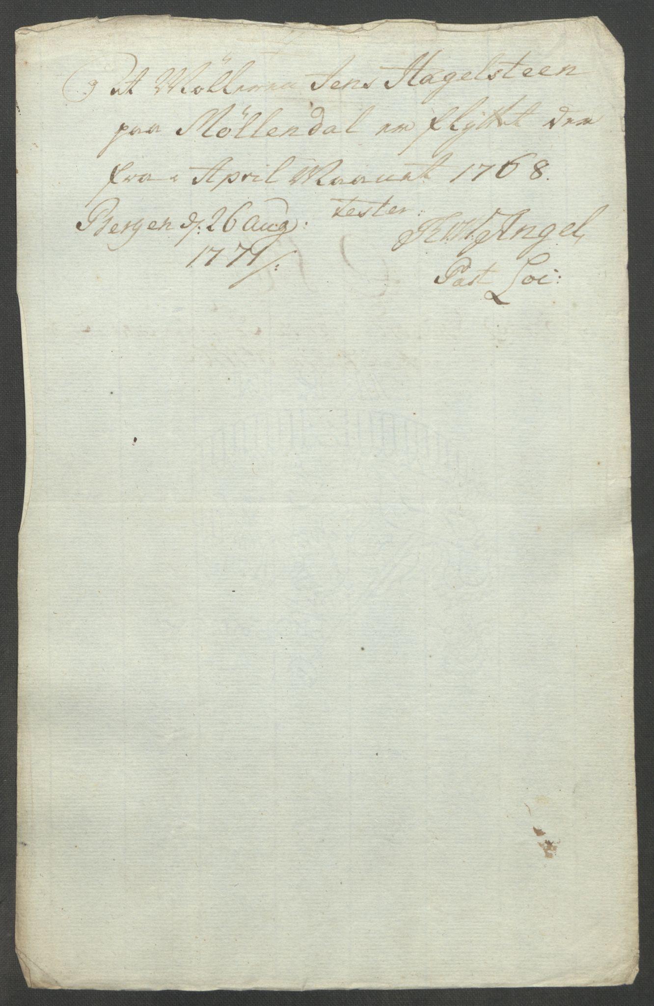 RA, Rentekammeret inntil 1814, Reviderte regnskaper, Fogderegnskap, R51/L3303: Ekstraskatten Nordhordland og Voss, 1762-1772, s. 412