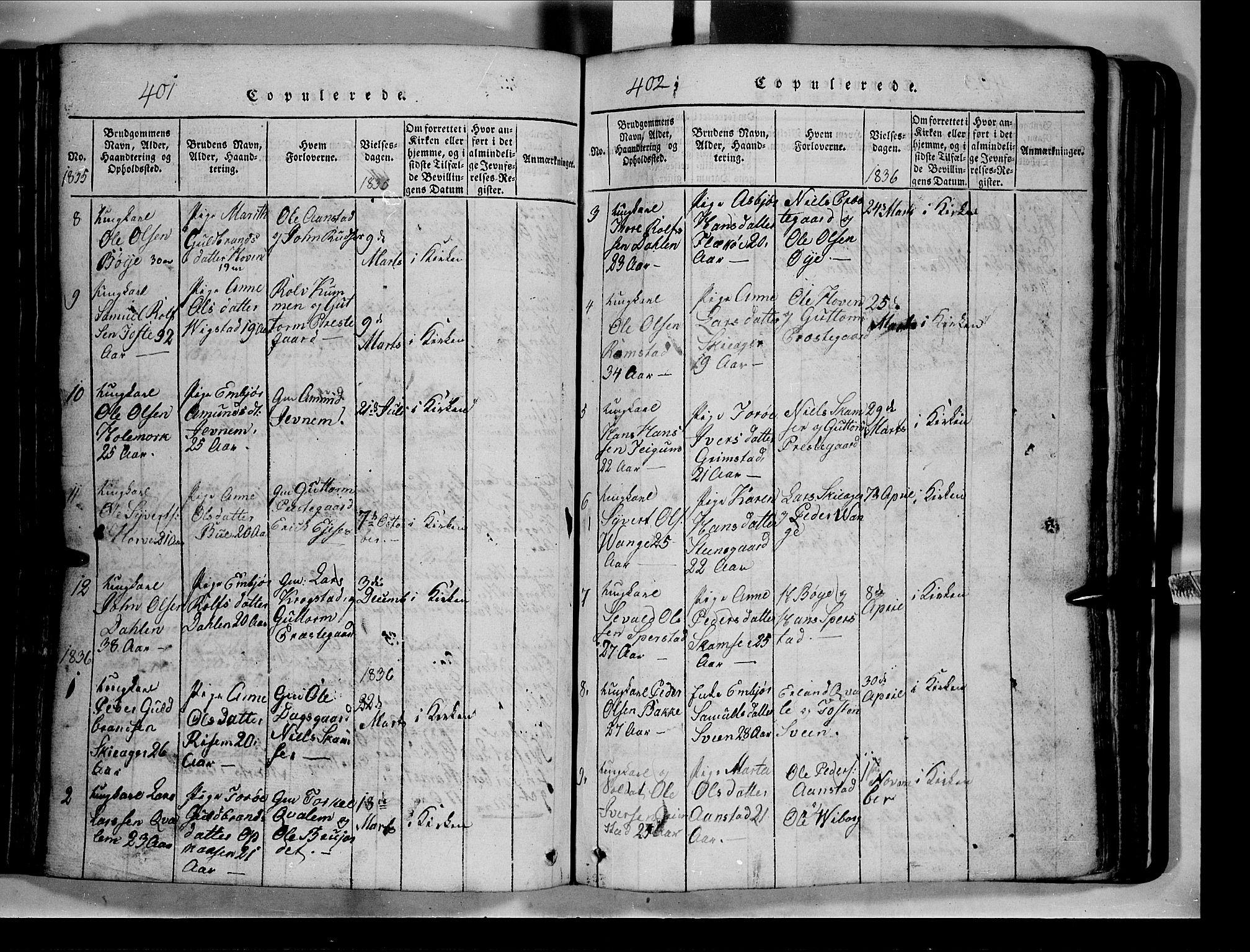 SAH, Lom prestekontor, L/L0003: Klokkerbok nr. 3, 1815-1844, s. 401-402