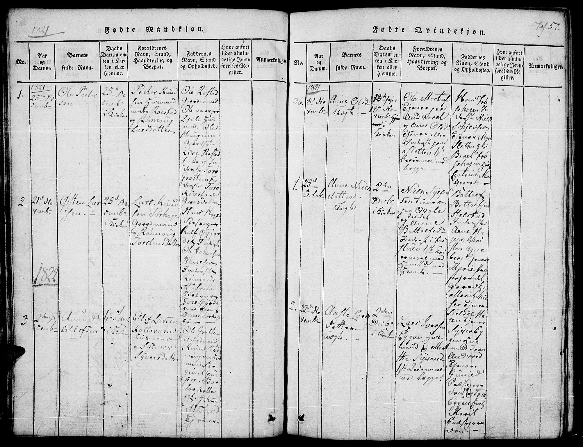 SAH, Lom prestekontor, L/L0001: Klokkerbok nr. 1, 1815-1836, s. 57