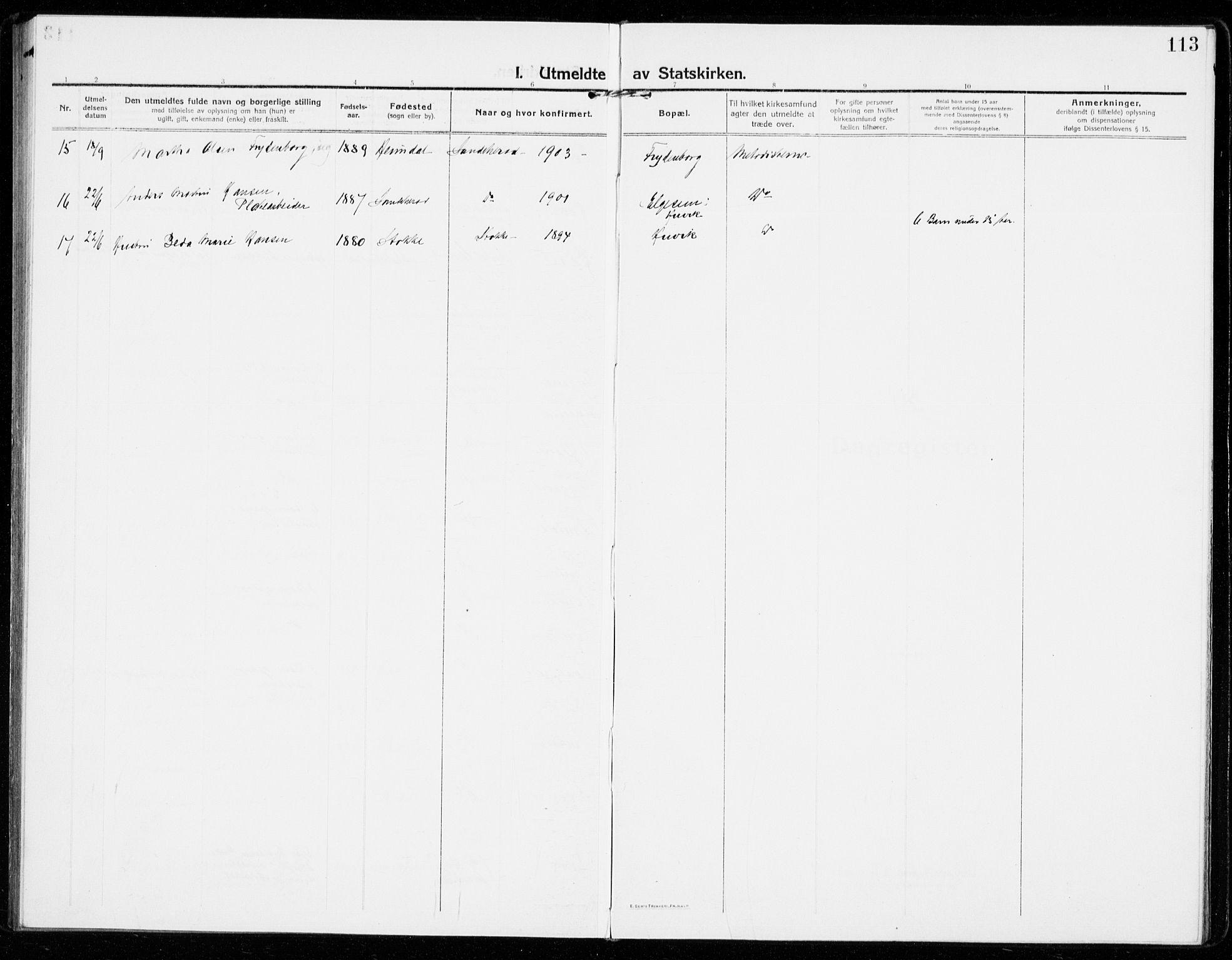 SAKO, Sandar kirkebøker, F/Fa/L0020: Ministerialbok nr. 20, 1915-1919, s. 113