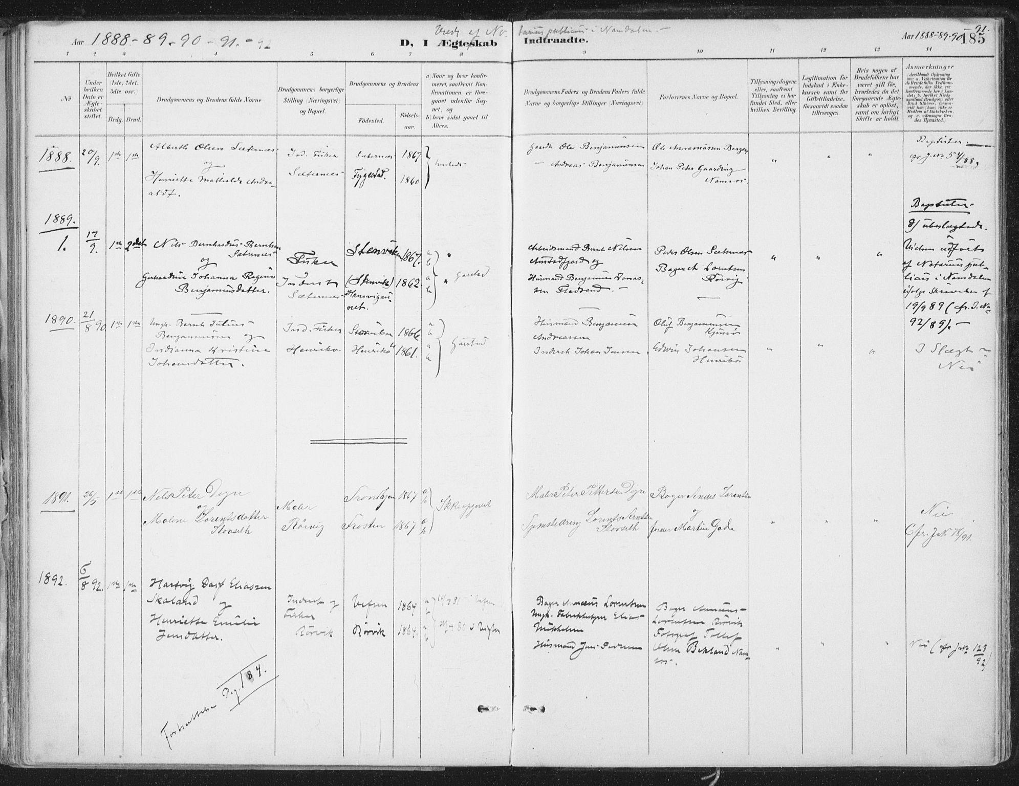 SAT, Ministerialprotokoller, klokkerbøker og fødselsregistre - Nord-Trøndelag, 786/L0687: Ministerialbok nr. 786A03, 1888-1898, s. 185