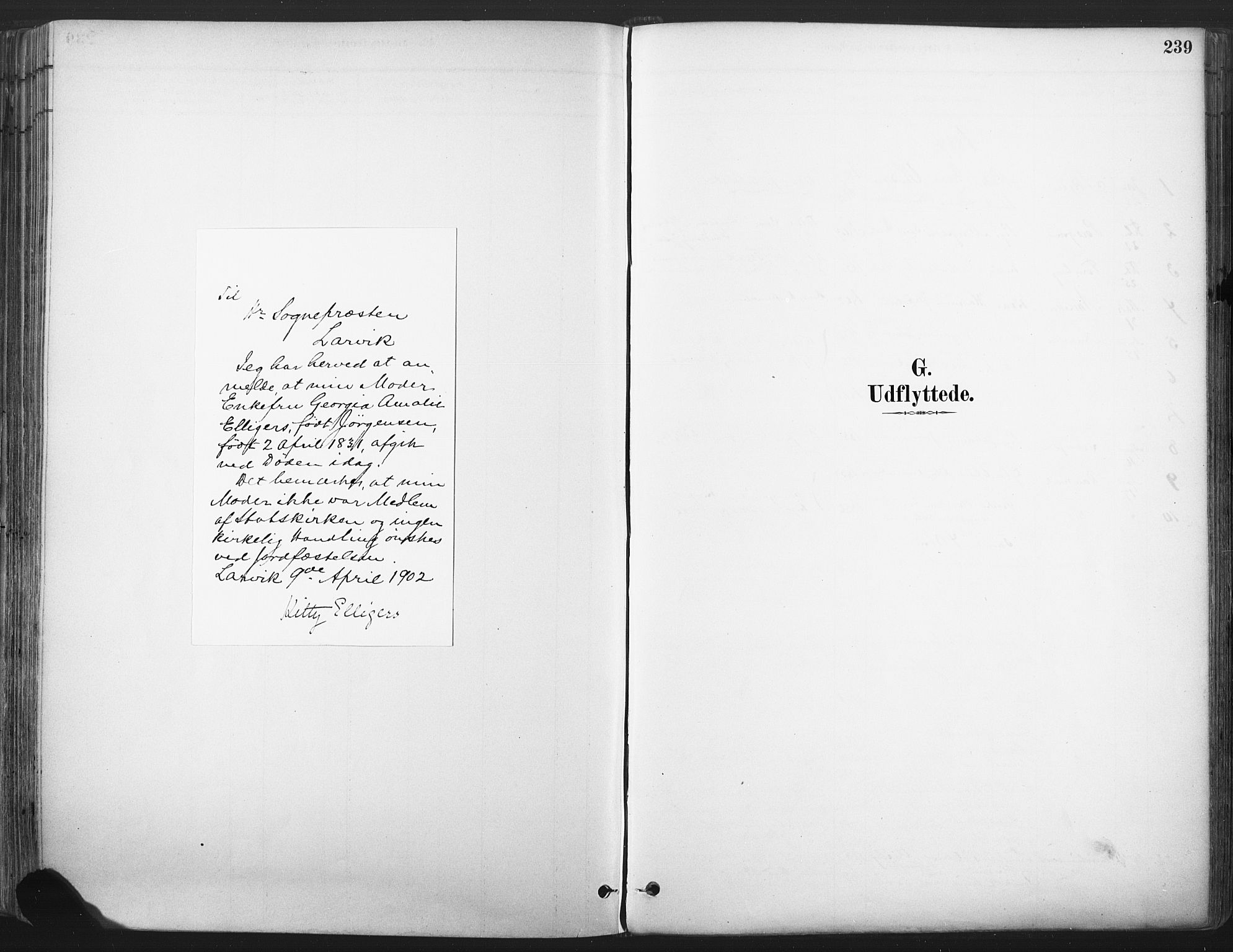 SAKO, Larvik kirkebøker, F/Fa/L0010: Ministerialbok nr. I 10, 1884-1910, s. 239
