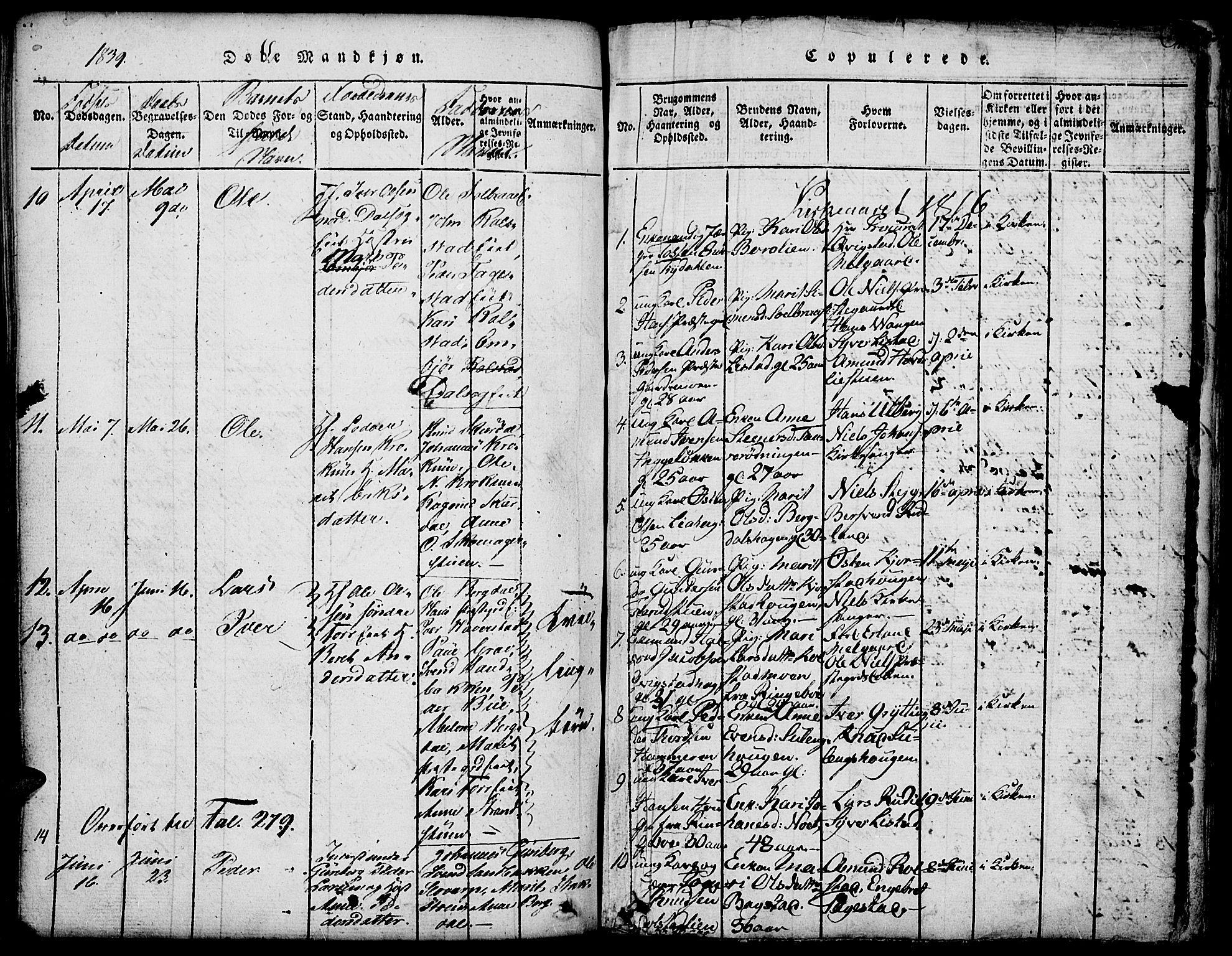 SAH, Fron prestekontor, H/Ha/Hab/L0001: Klokkerbok nr. 1, 1816-1843, s. 190