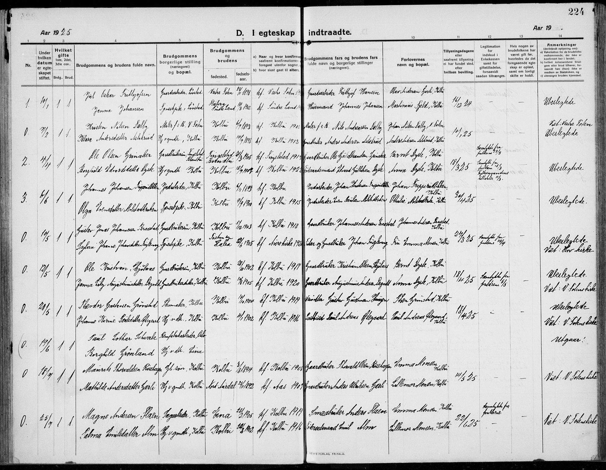 SAH, Kolbu prestekontor, Ministerialbok nr. 2, 1912-1926, s. 224
