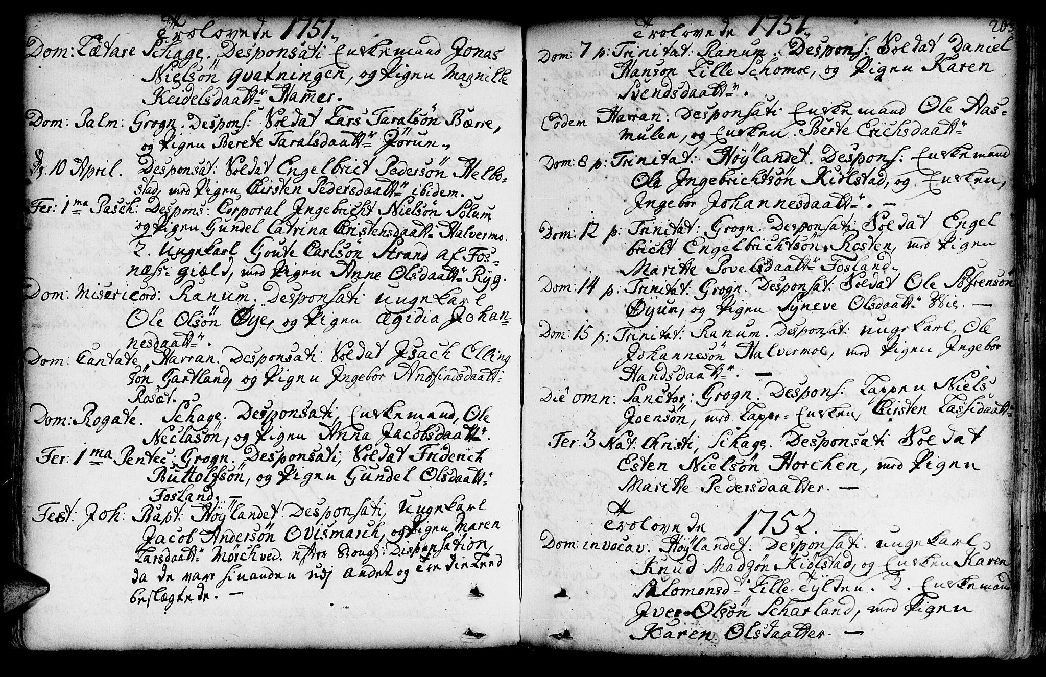 SAT, Ministerialprotokoller, klokkerbøker og fødselsregistre - Nord-Trøndelag, 764/L0542: Ministerialbok nr. 764A02, 1748-1779, s. 203