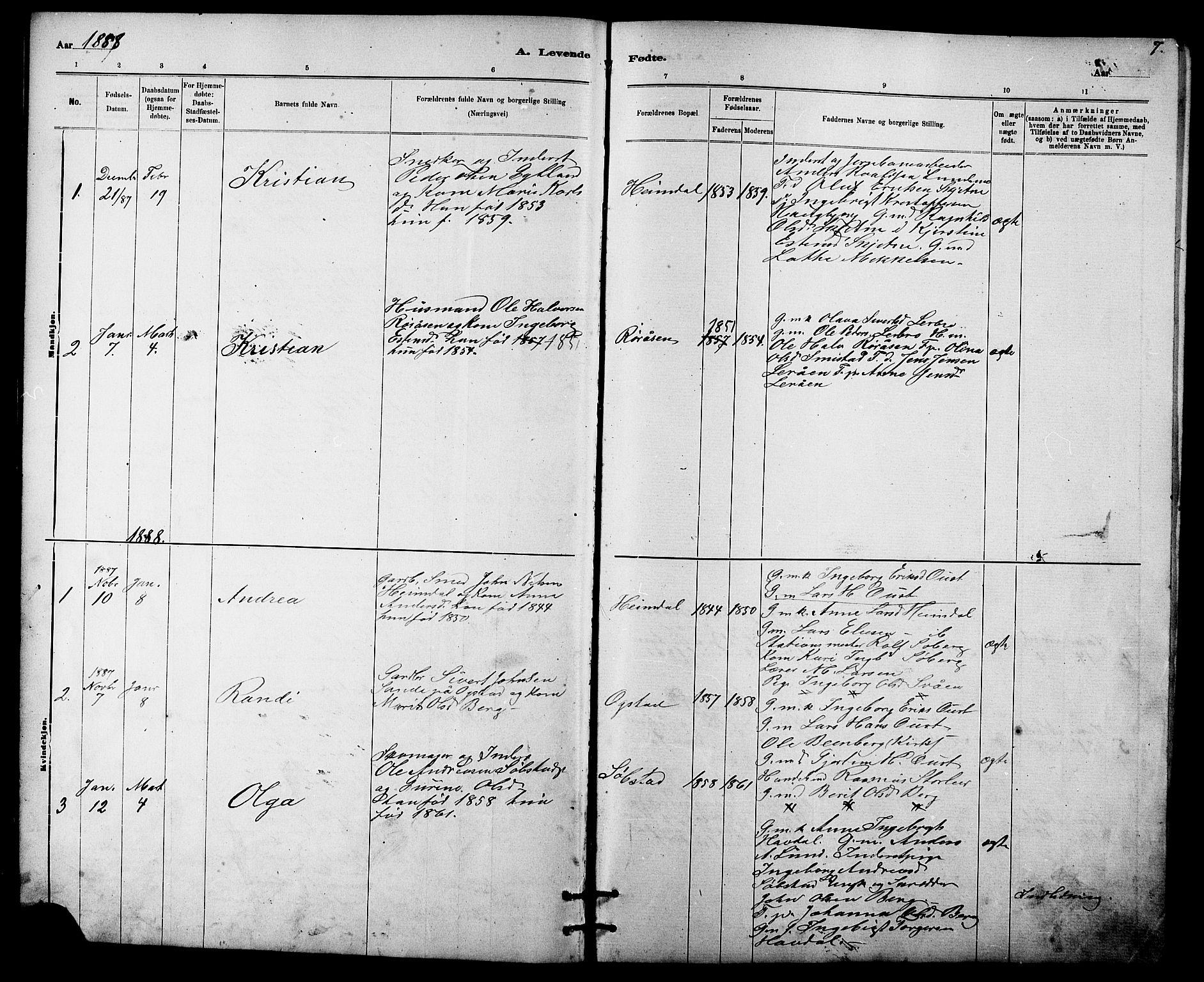 SAT, Ministerialprotokoller, klokkerbøker og fødselsregistre - Sør-Trøndelag, 613/L0395: Klokkerbok nr. 613C03, 1887-1909, s. 7