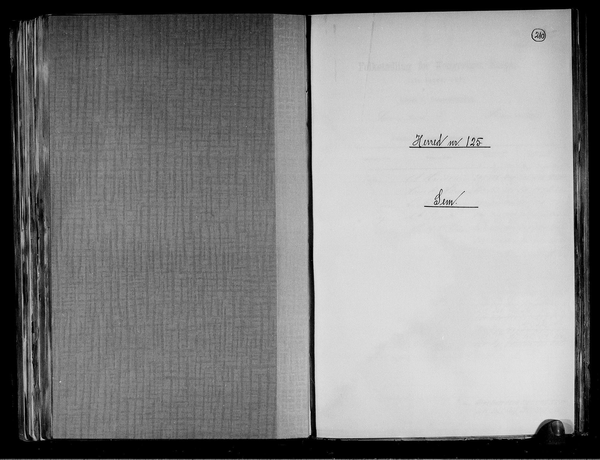 RA, Folketelling 1891 for 0721 Sem herred, 1891, s. 1