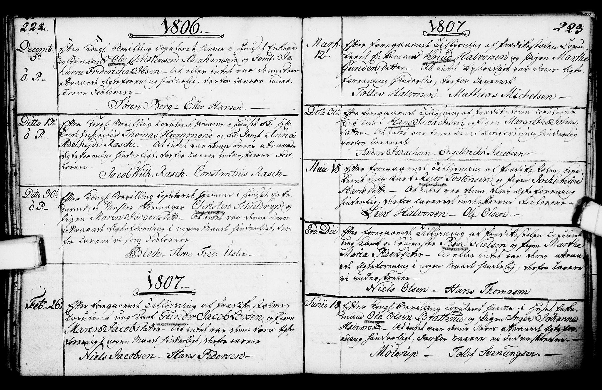 SAKO, Porsgrunn kirkebøker , F/Fa/L0003: Ministerialbok nr. 3, 1764-1814, s. 222-223