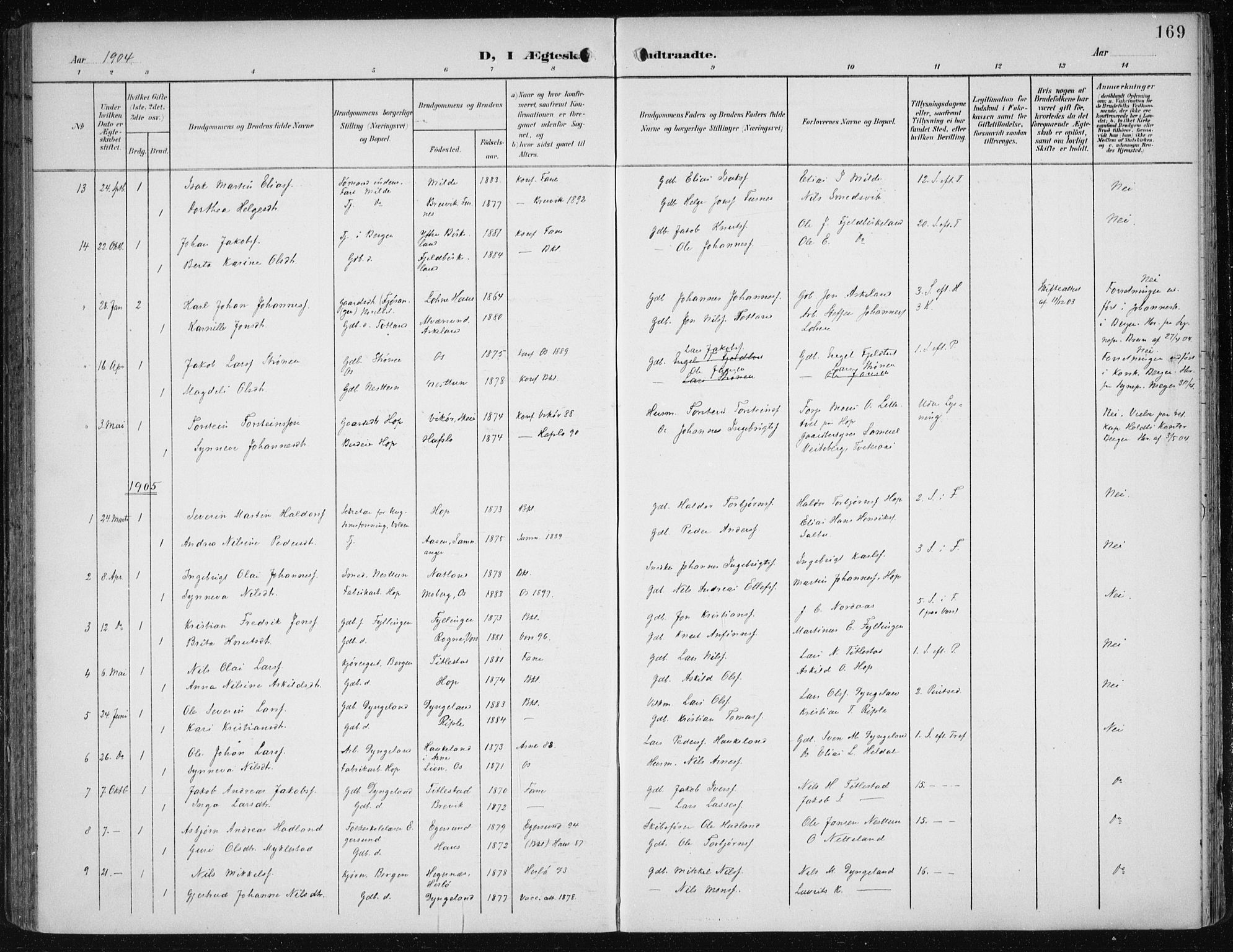 SAB, Fana Sokneprestembete, H/Haa/Haai/L0003: Ministerialbok nr. I 3, 1900-1912, s. 169