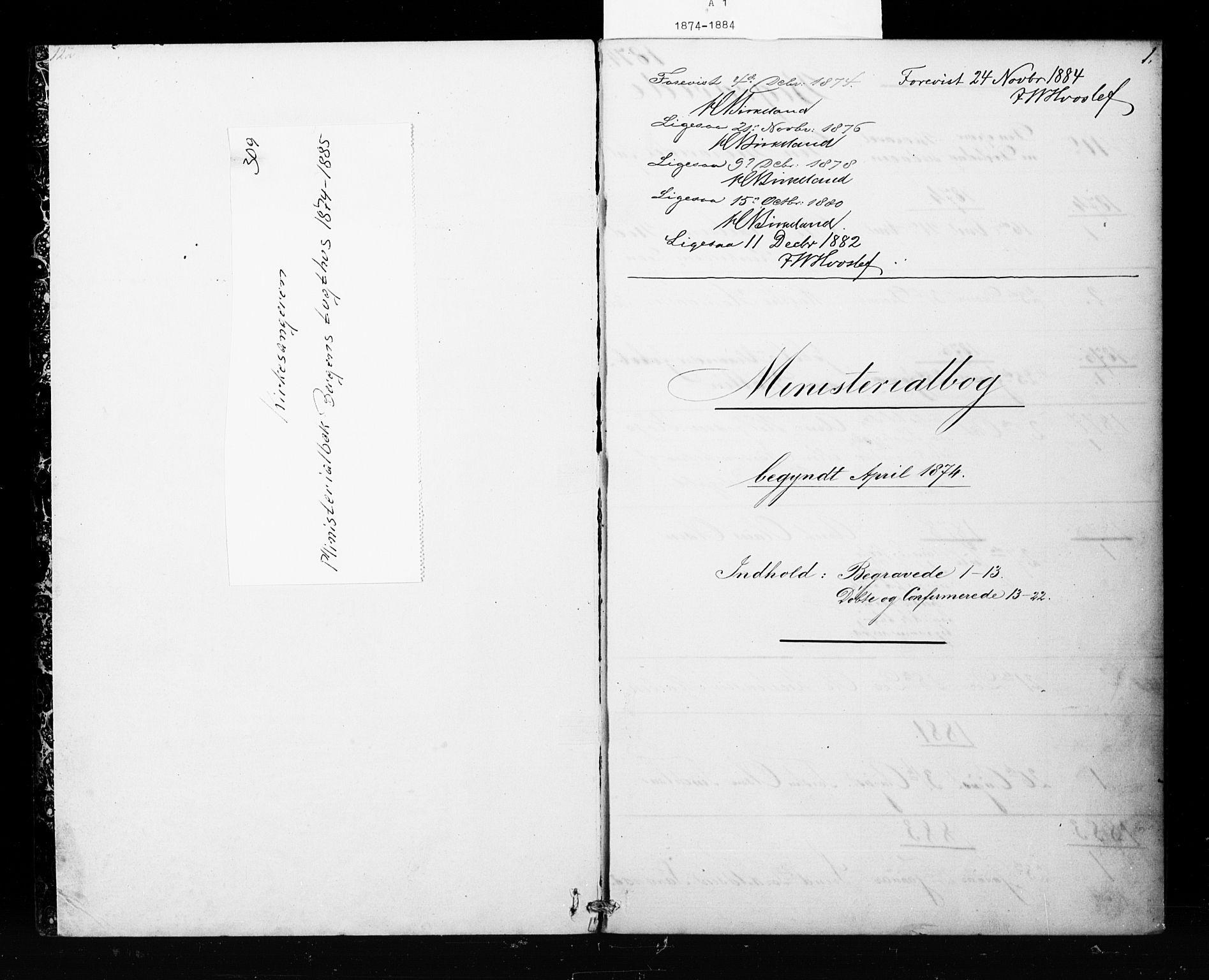 SAB, Bergens strafanstalts sokneprestembete*, Klokkerbok nr. A 1, 1874-1884, s. 1