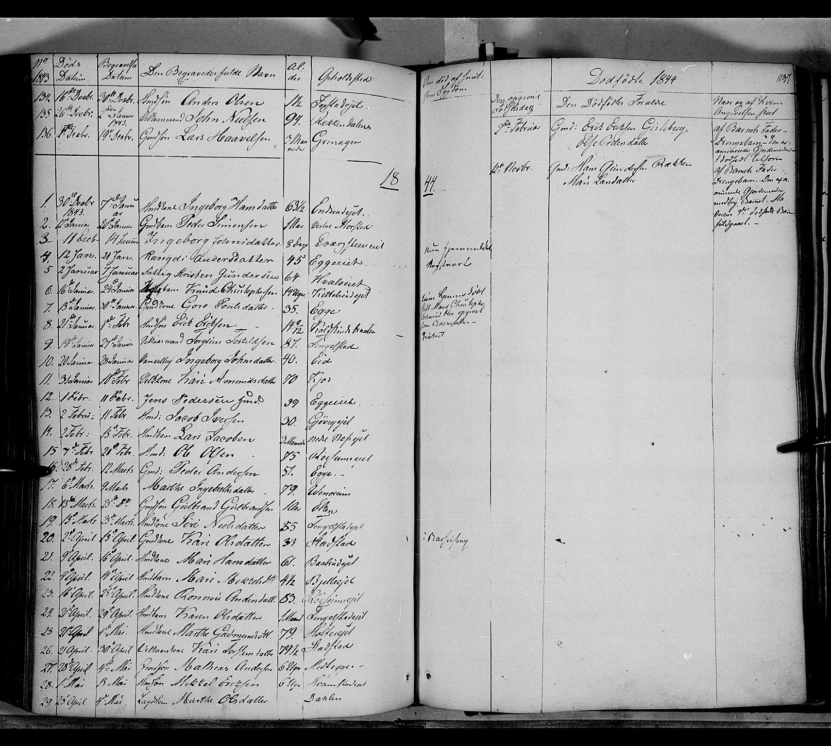 SAH, Gran prestekontor, Ministerialbok nr. 11, 1842-1856, s. 1036-1037