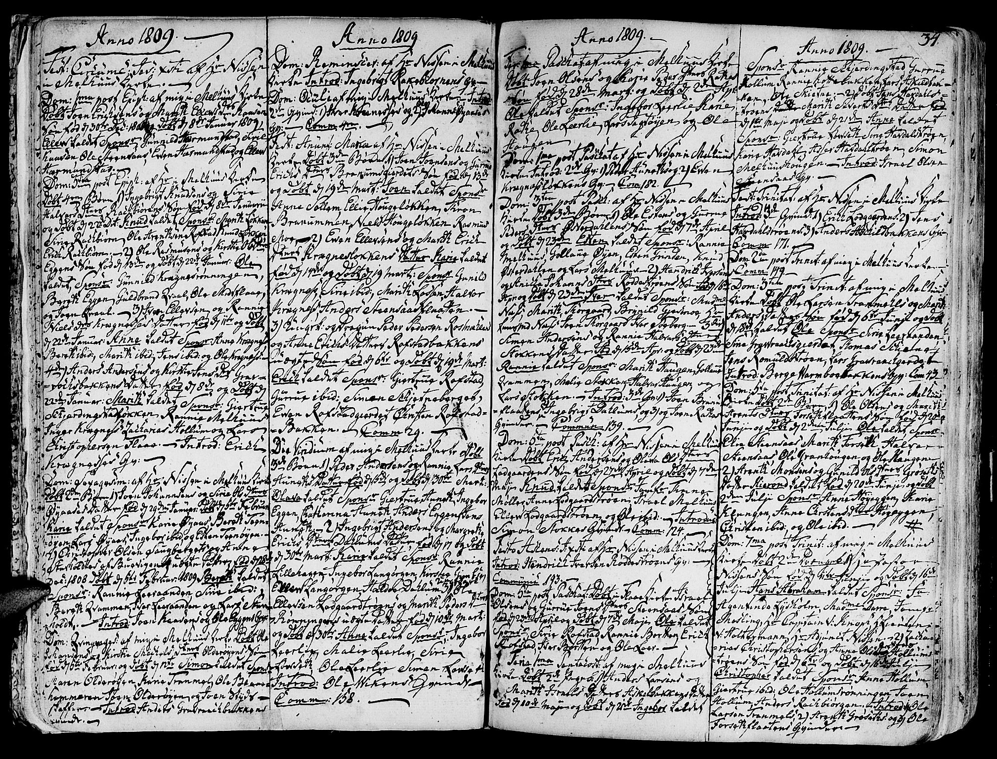 SAT, Ministerialprotokoller, klokkerbøker og fødselsregistre - Sør-Trøndelag, 691/L1061: Ministerialbok nr. 691A02 /1, 1768-1815, s. 34