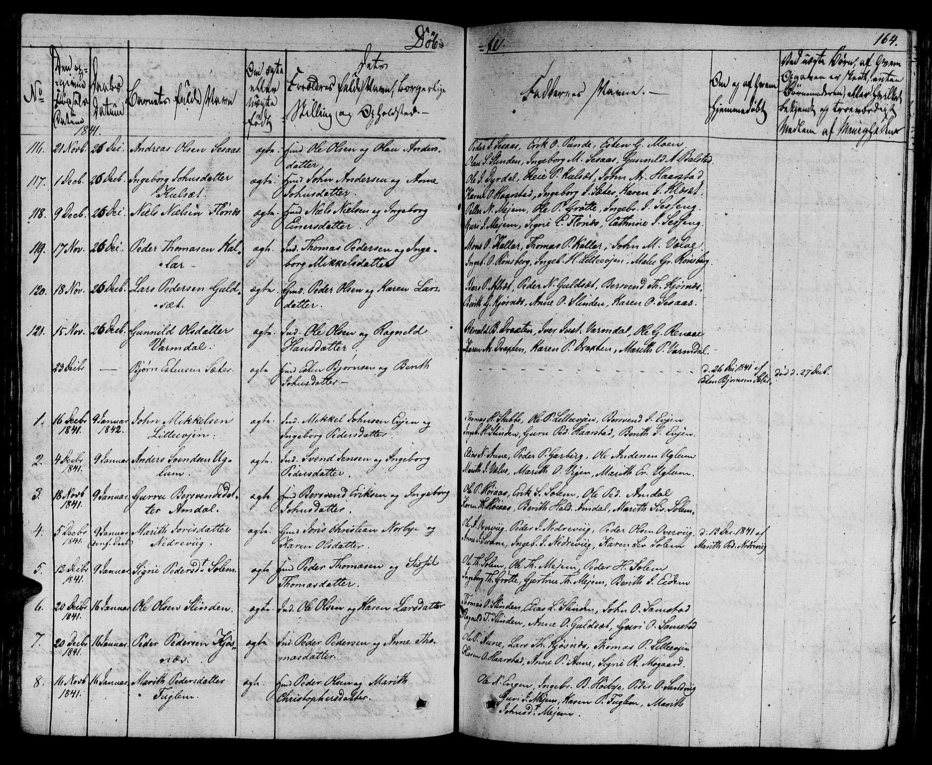 SAT, Ministerialprotokoller, klokkerbøker og fødselsregistre - Sør-Trøndelag, 695/L1143: Ministerialbok nr. 695A05 /1, 1824-1842, s. 164